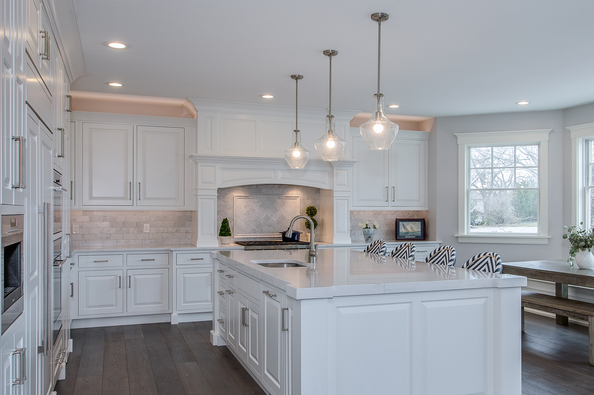 White Kitchen Cabinets With Walk In Pantry Showplace Cabinetry