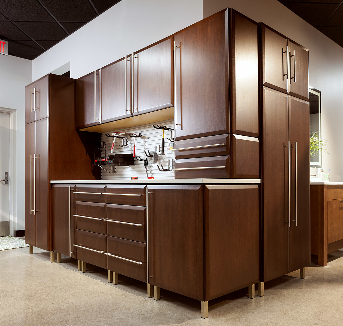 Stained workshop cabinets in Harvest by ShowplaceEVO - view 1