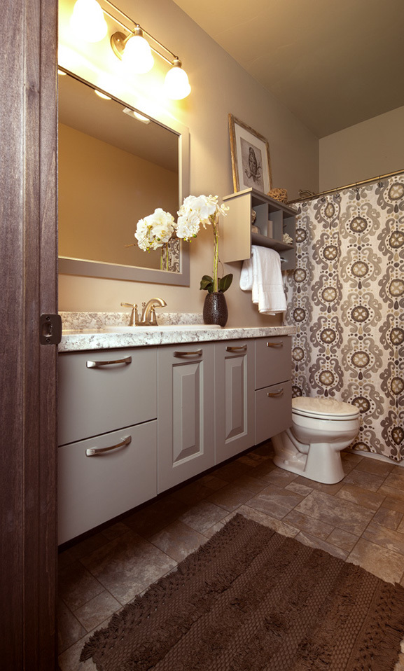 Painted Bathroom Cabinets in Dovetail by ShowplaceEVO - view 1