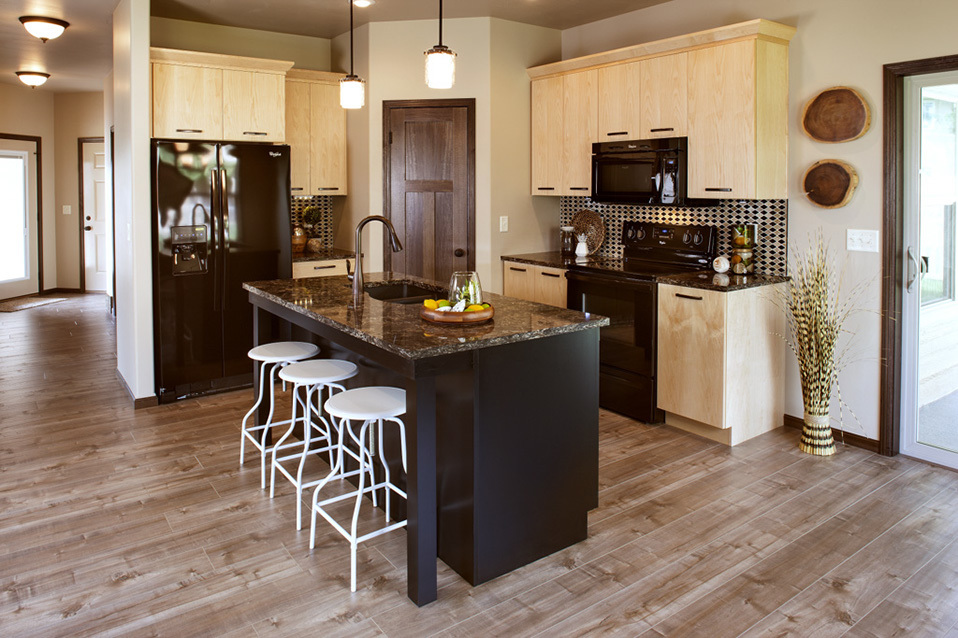 Natural Kitchen Cabinets and Painted Island in Black by ShowplaceEVO - view 1
