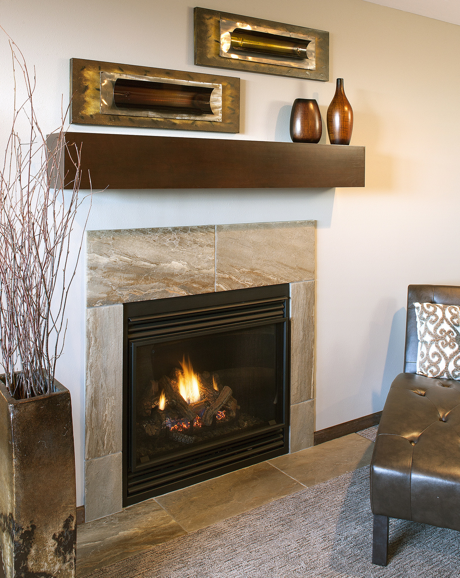 Stained Fireplace Mantel in Coffee by ShowplaceEVO