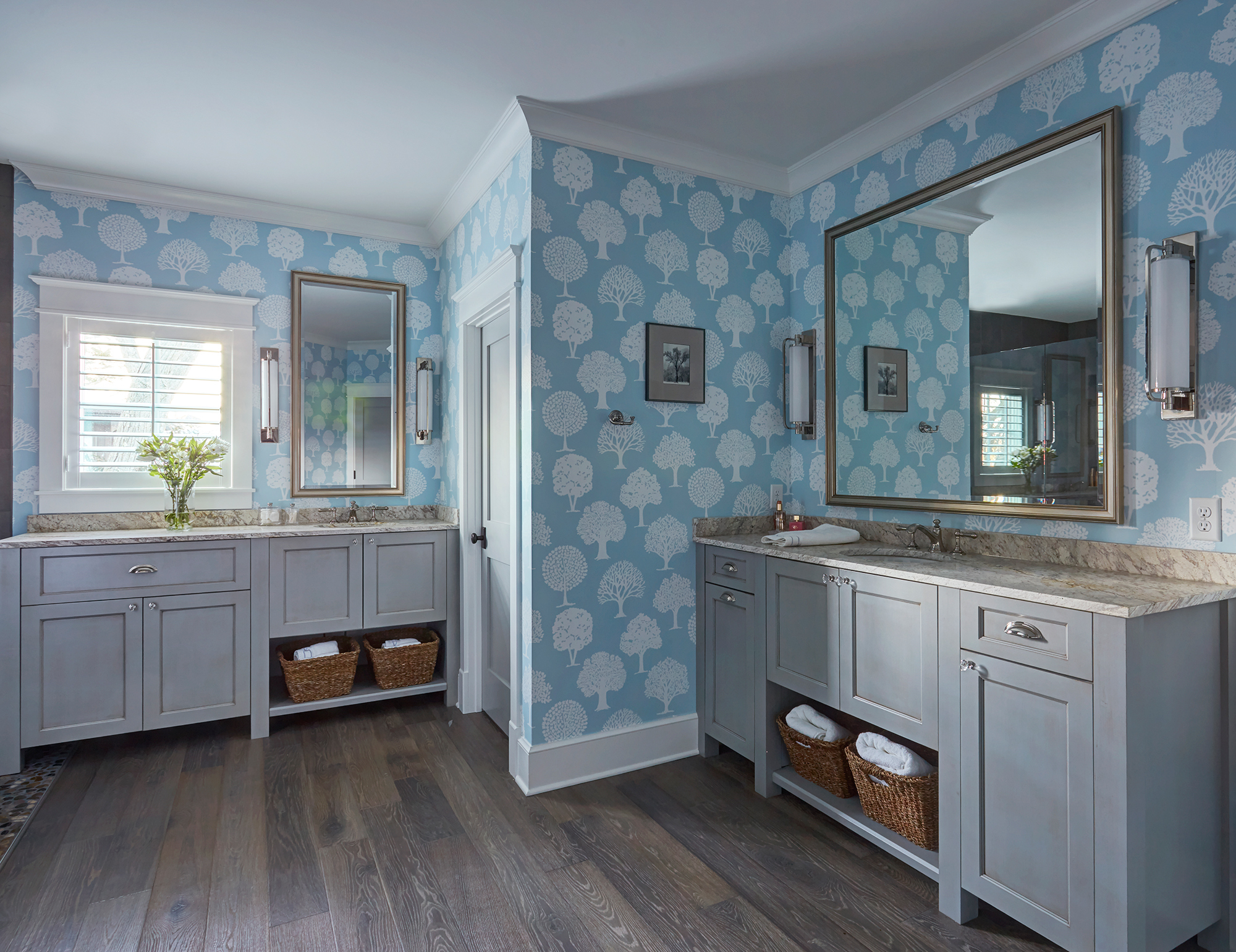 Painted master bathroom cabinets in Estate Gray with Walnut glaze by Showplace Cabinetry - view 2