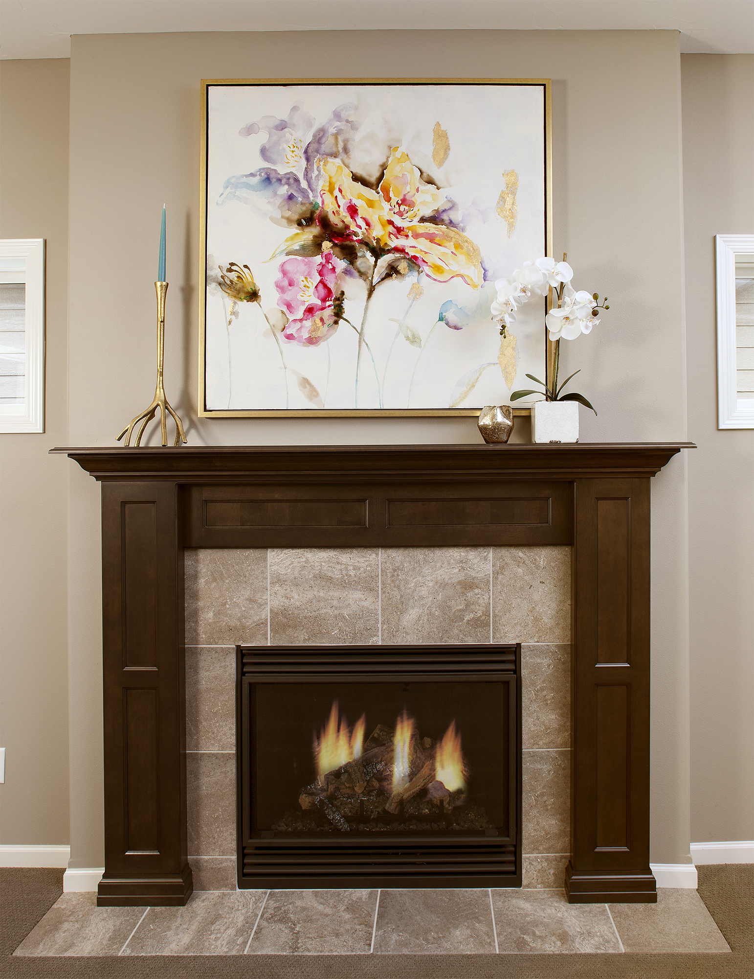 Stained Fireplace Surround in Peppercorn by ShowplaceEVO