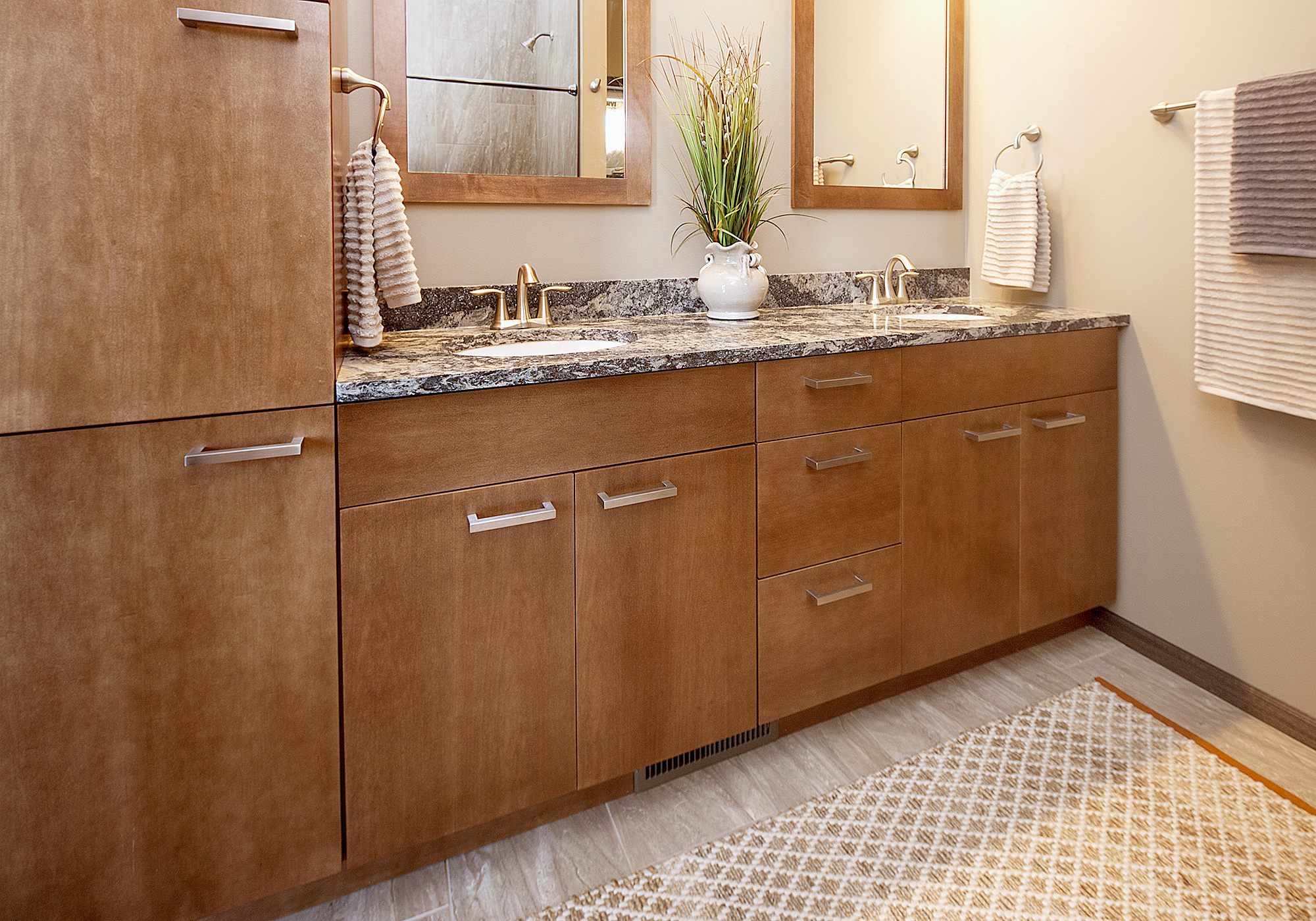 Stained Master Bathroom Cabinets in Pecan by ShowplaceEVO - view 1