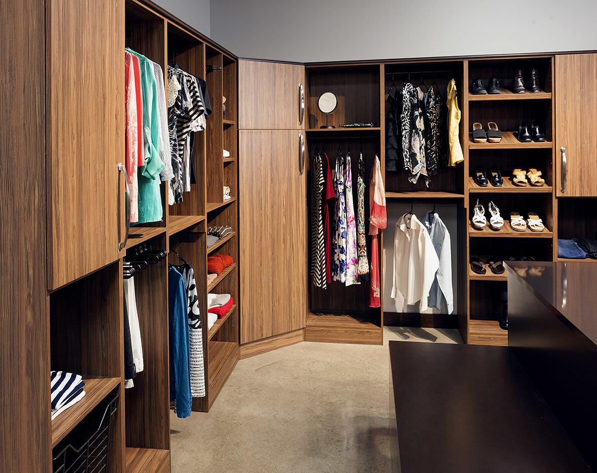 Designer closet cabinets in Exotic Walnut Textured Melamine by ShowplaceEVO - view 1