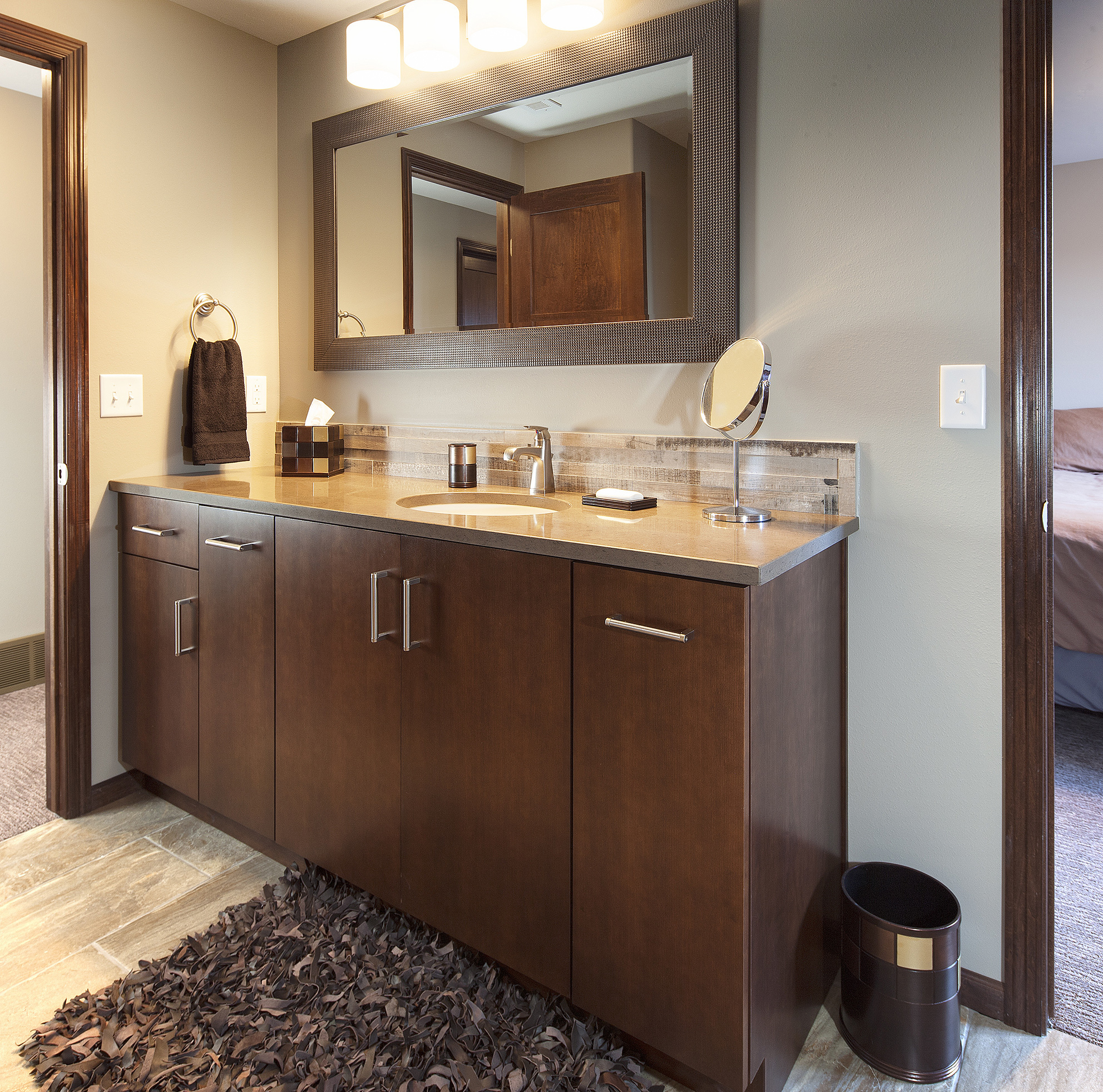 Stained Bathroom Cabinets in Coffee by ShowplaceEVO