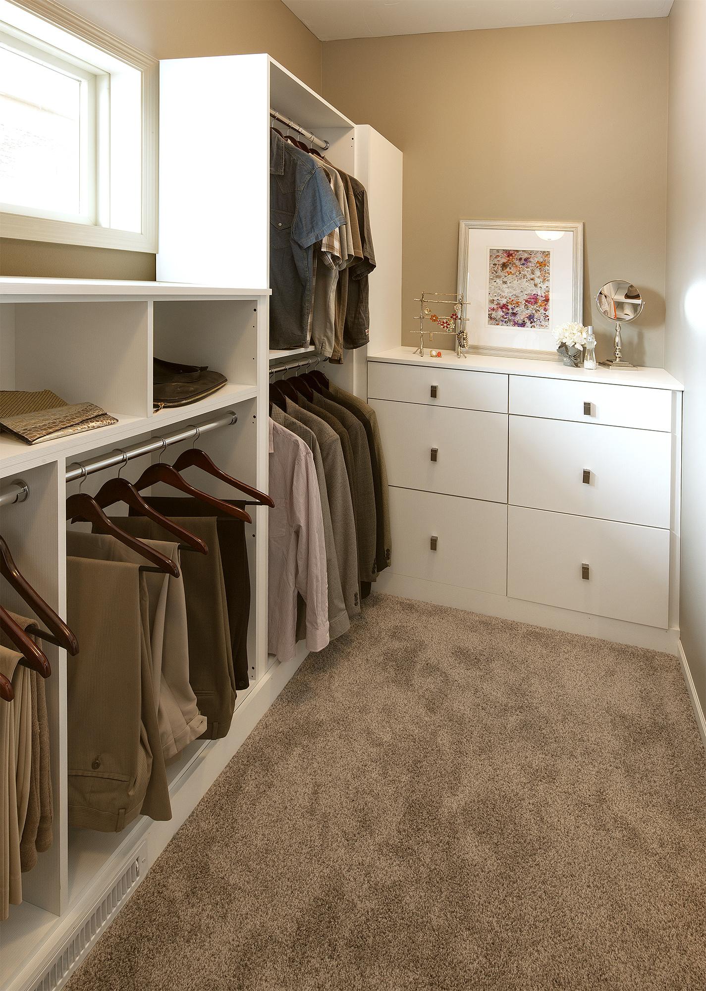 Slab Style closet cabinets in Glacier White textured melamine by ShowplaceEVO - view 1