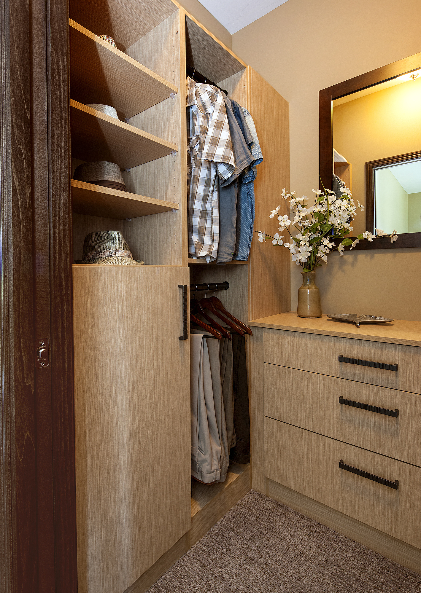 Textured Closet Cabinets in Rift White Oak by ShowplaceEVO - view 1