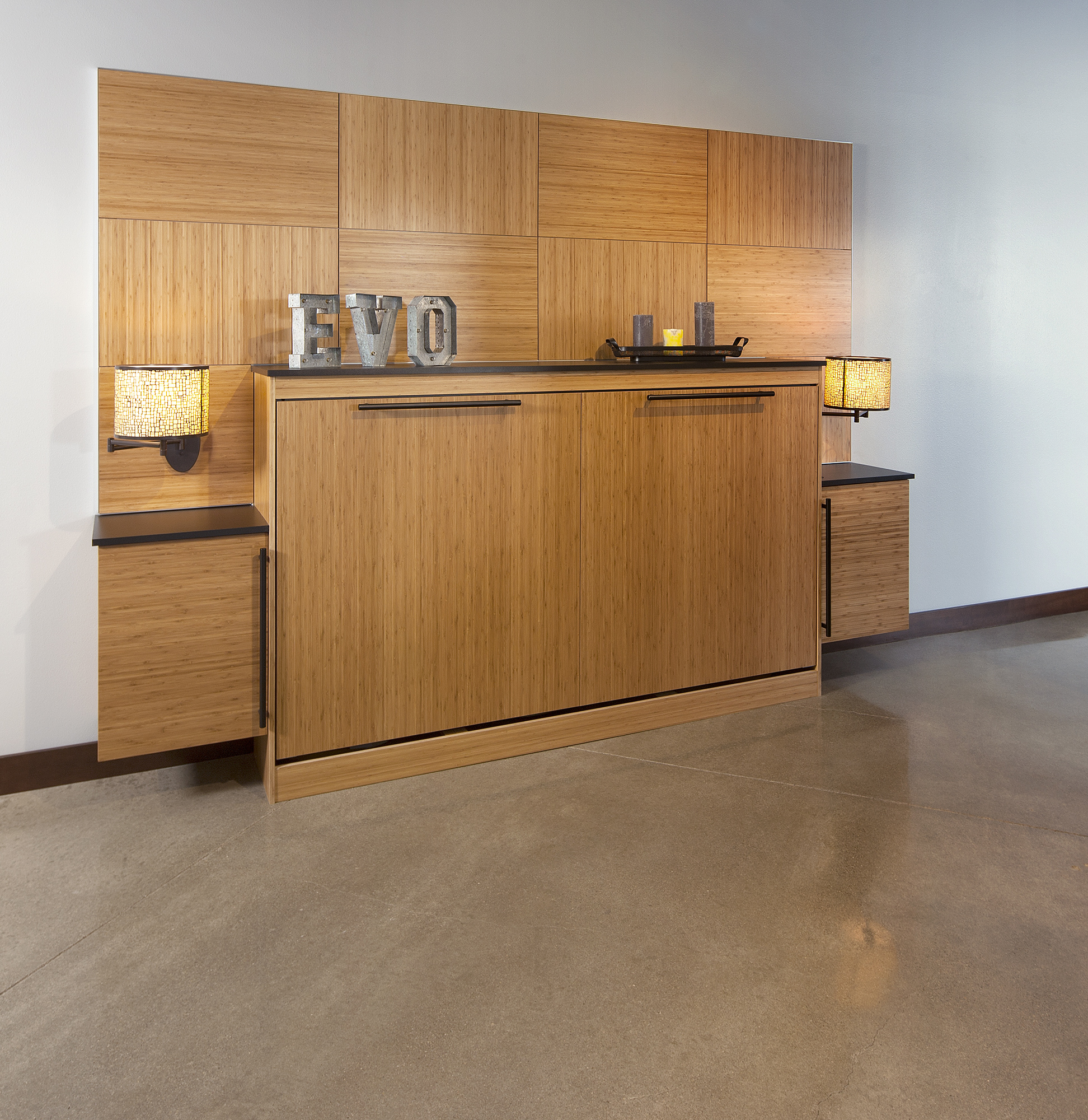 Stained Murphy Bed and cabinets in Bamboo Natural by ShowplaceEVO - view 1