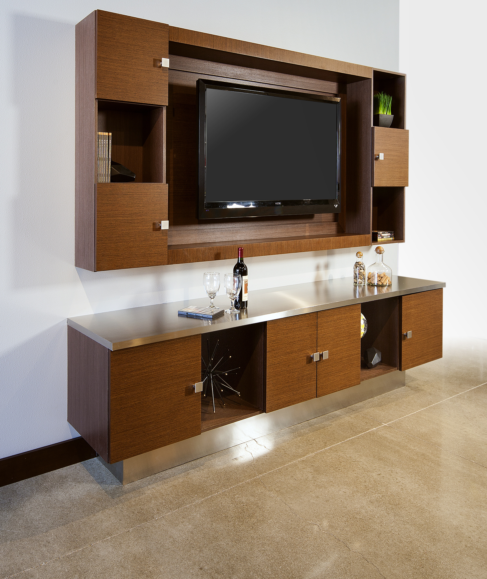 Stained entertainment cabinets in Wenge Natural by ShowplaceEVO - view 1