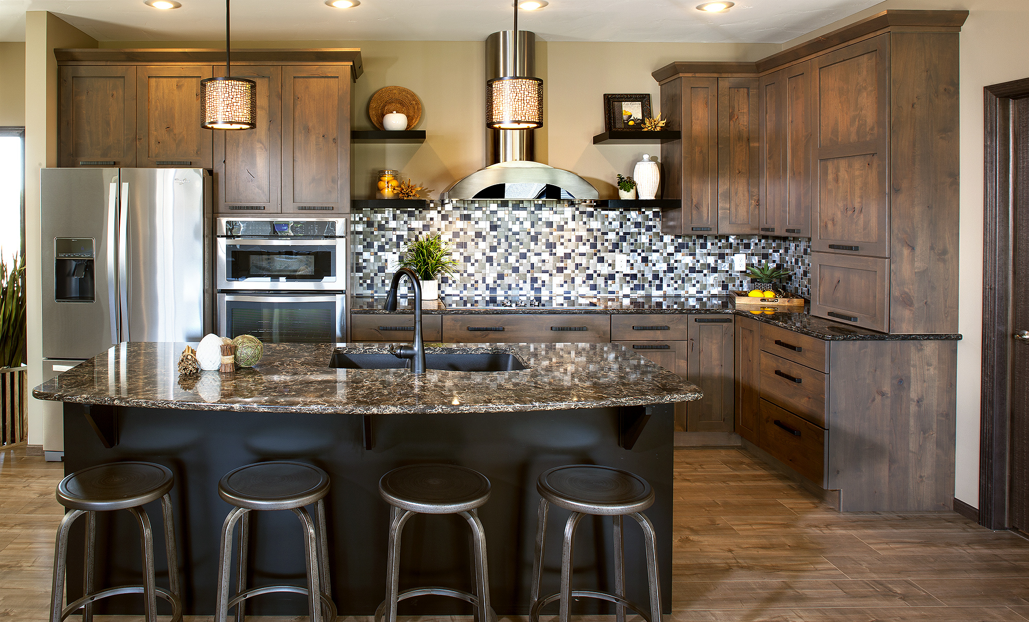 Stained Kitchen Cabinets in Driftwood and Island in Black by ShowplaceEVO - view 1