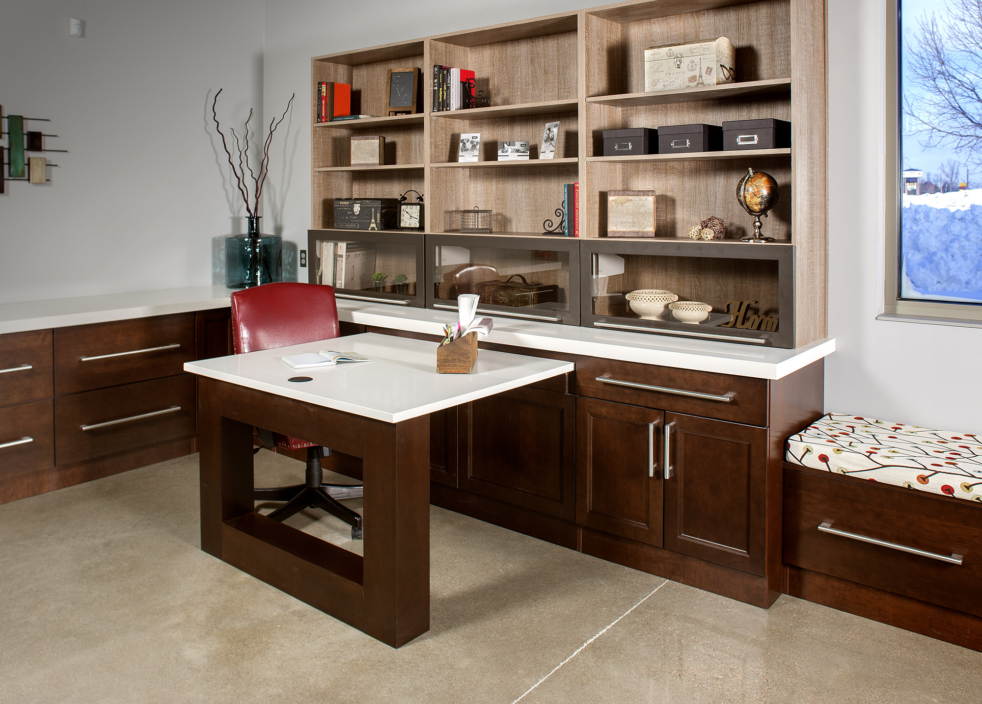 Stained office cabinets in Coffee by ShowplaceEVO