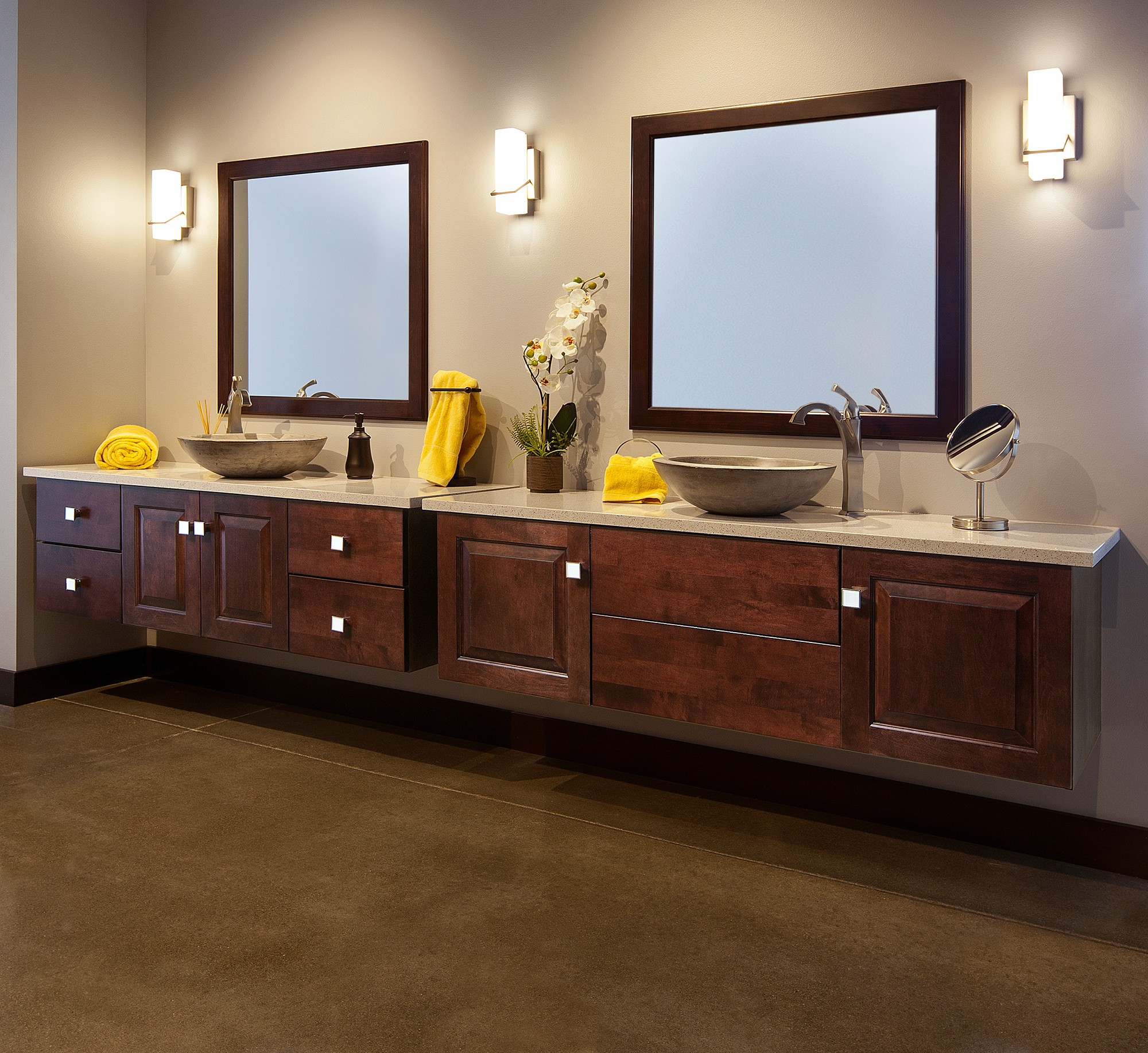 Stained floating vanity in Brandy by ShowplaceEVO