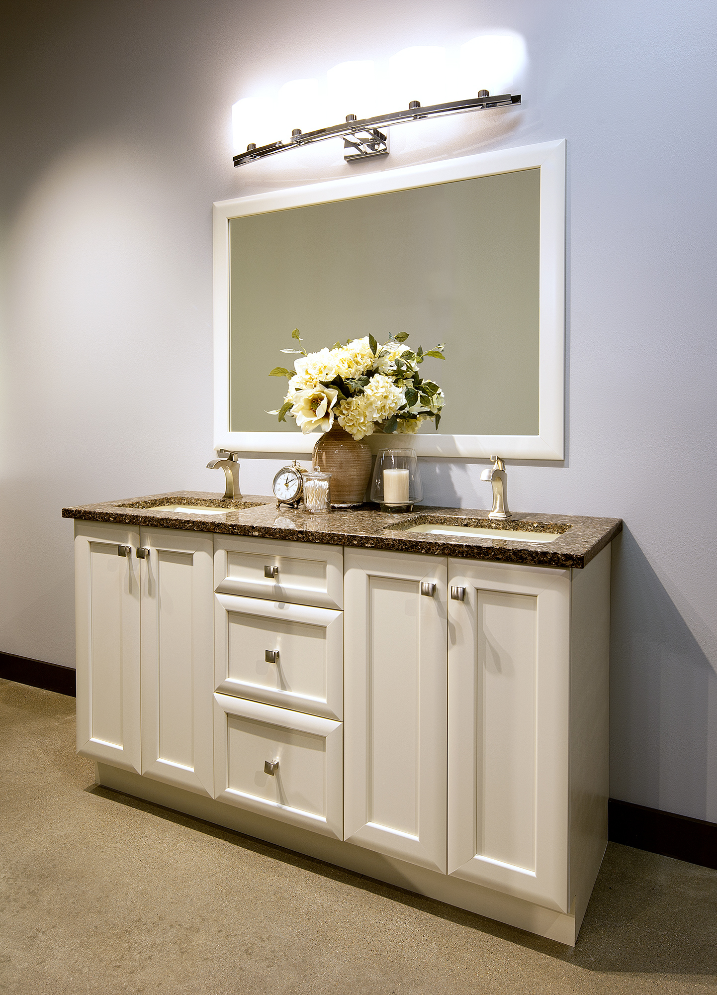 Painted bathroom cabinets in Moderate White by ShowplaceEVO - view 1