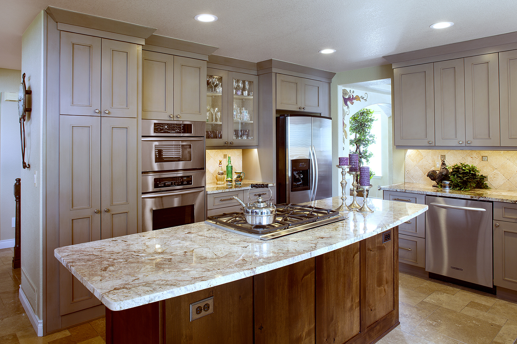 Painted Kitchen cabinets in Light Greige and stained island in Russet by ShowplaceEVO - view 1