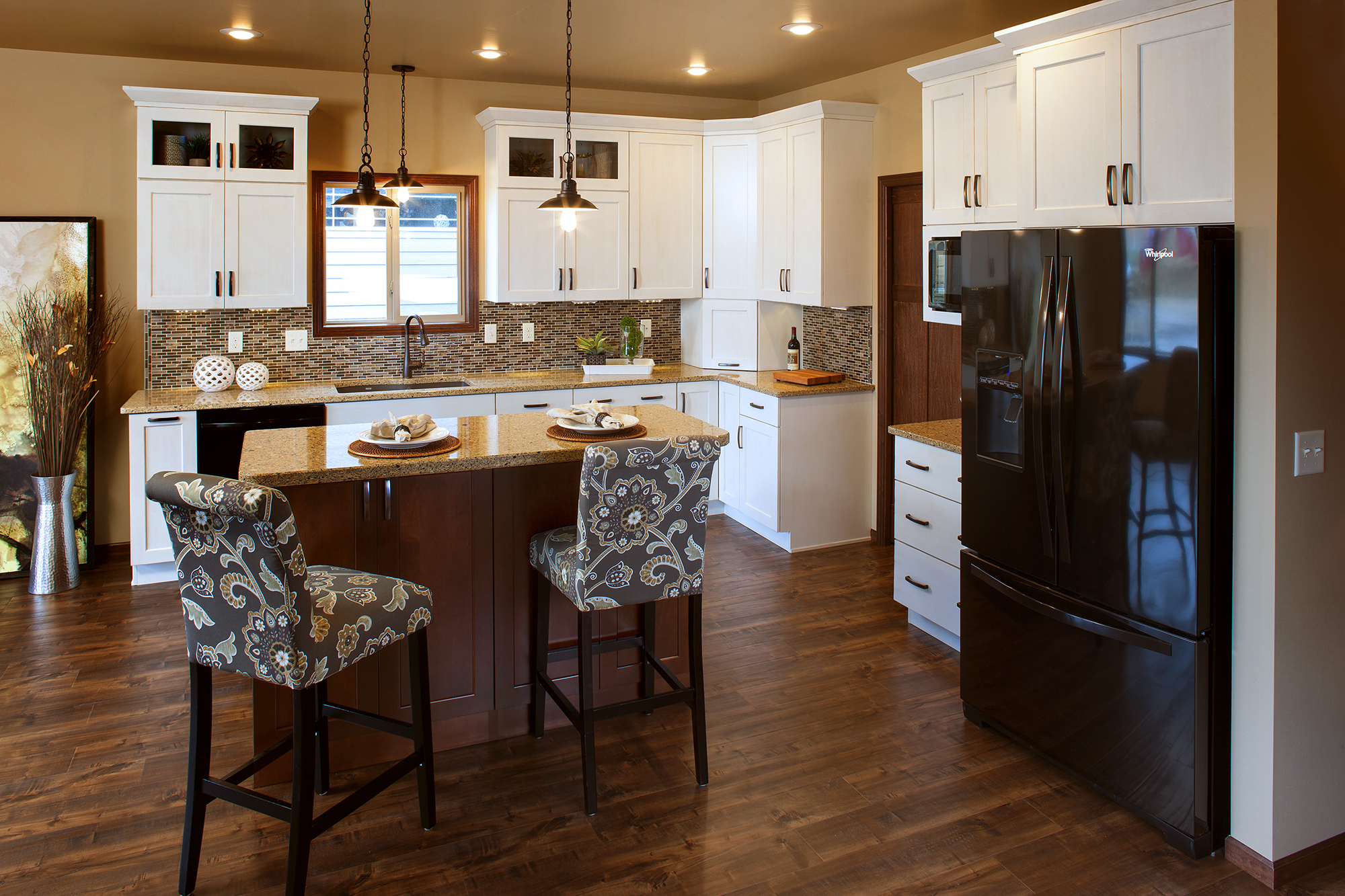 Painted Kitchen Cabinets in Pure White and Stained Island in Harvest by ShowplaceEVO - view 1