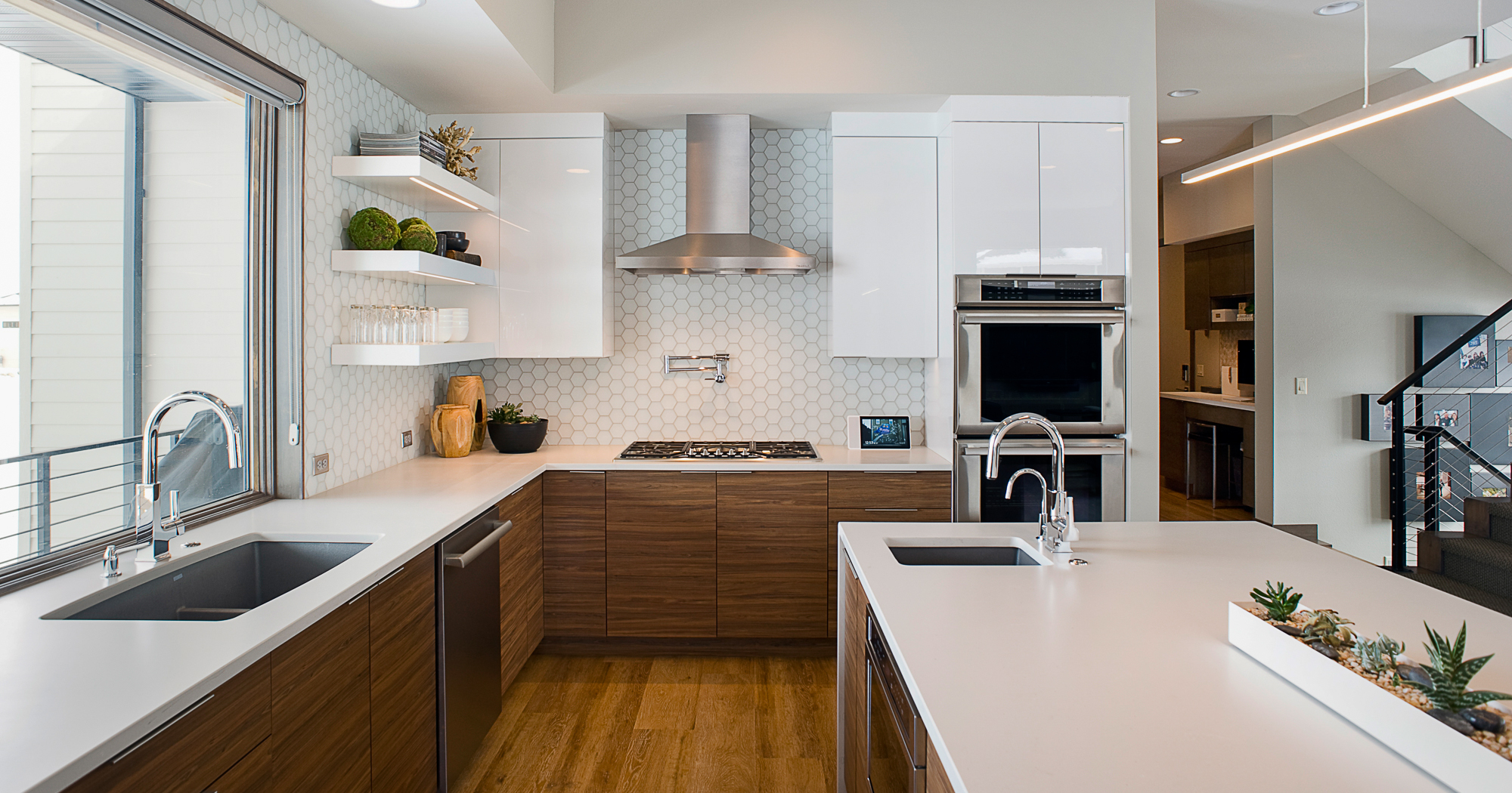 Contemporary kitchen with island featuring High Gloss White and Exotic Walnut textured melamine by ShowplaceEVO - view 1