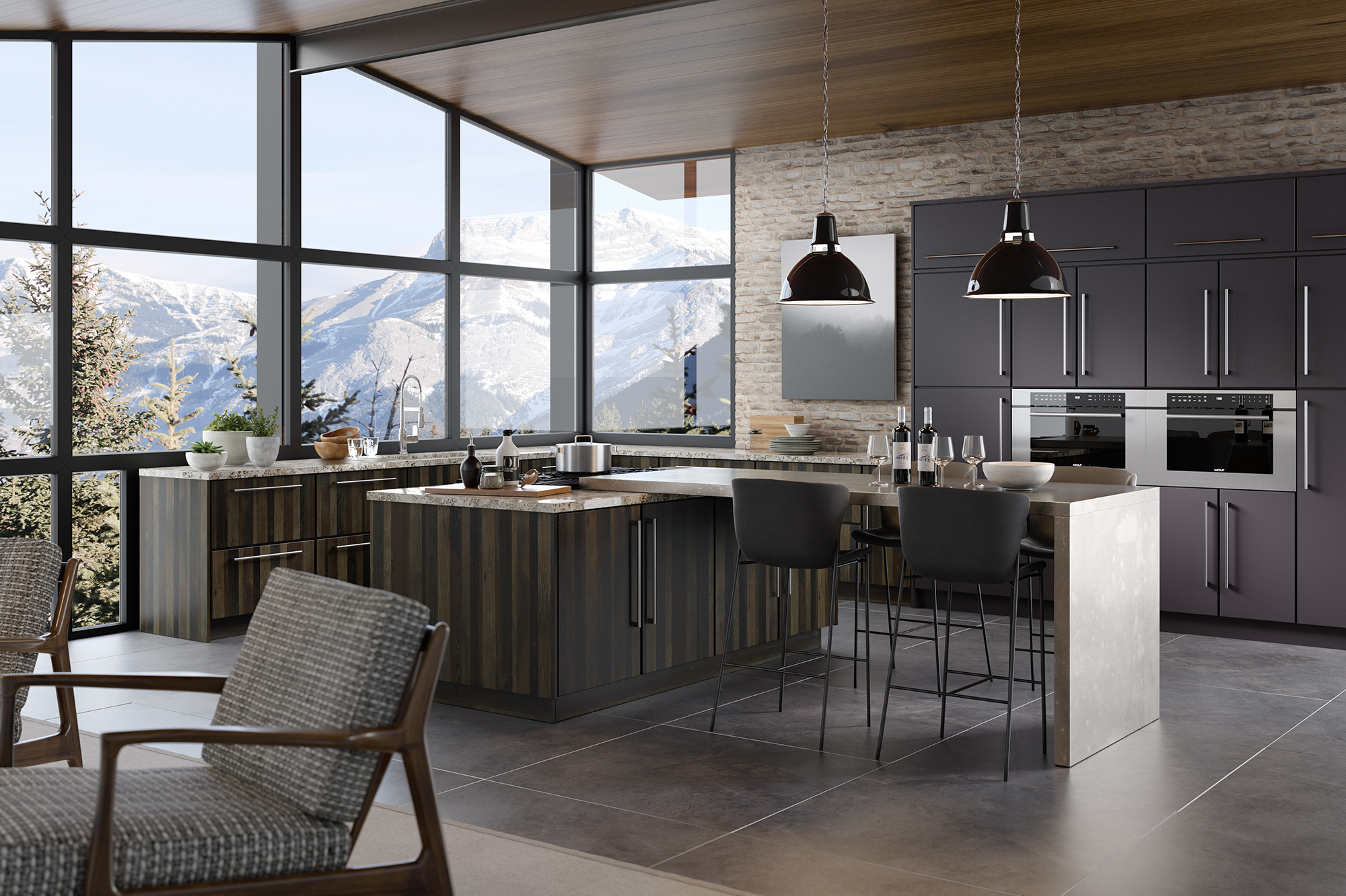 Slab style kitchen cabinets with mountain view in Papa's Loft textured melamine and Gauntlet Gray foil by ShowplaceEVO view 1