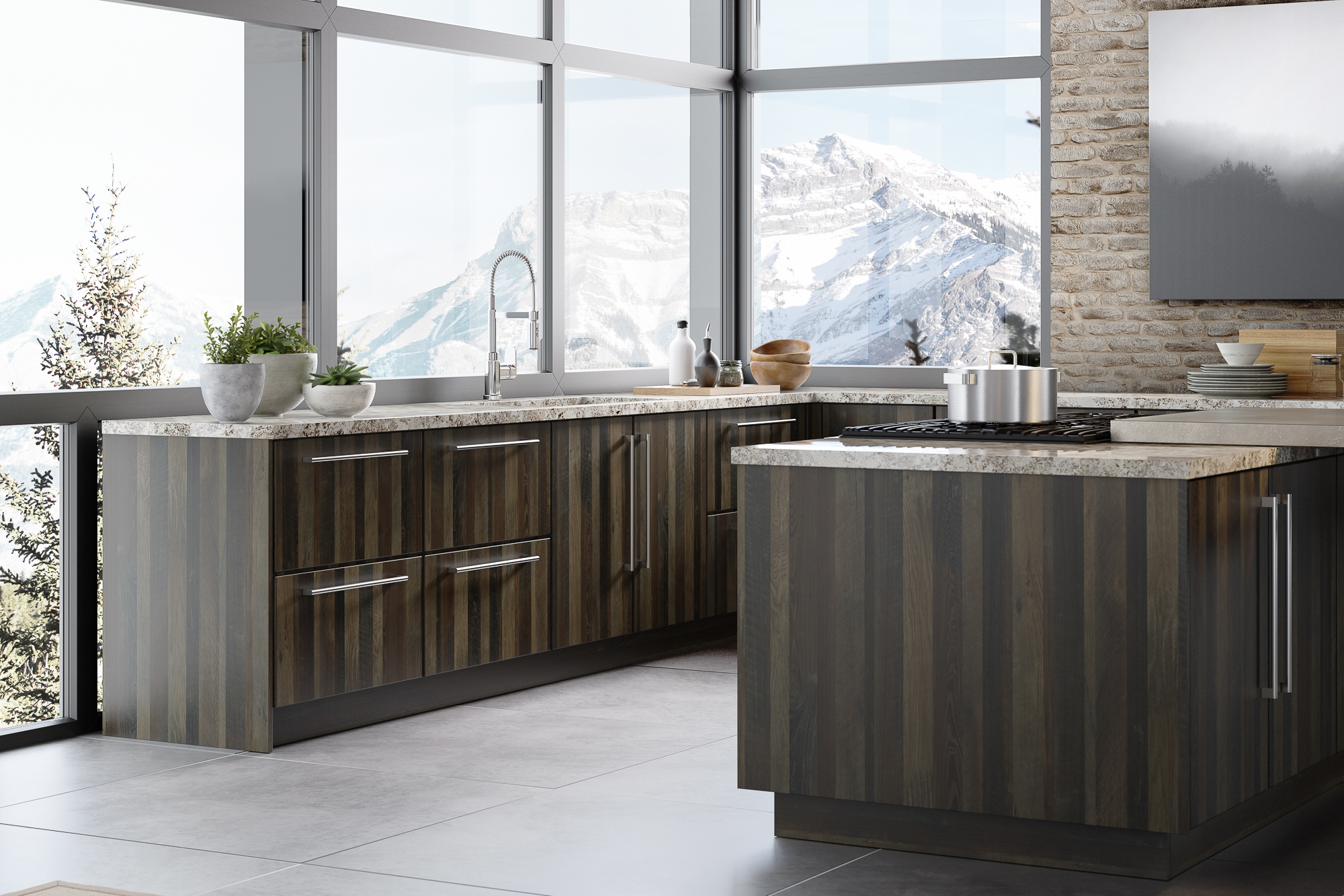 Slab style kitchen cabinets with mountain view in Papa's Loft textured melamine and Gauntlet Gray foil by Showplace EVO view 4