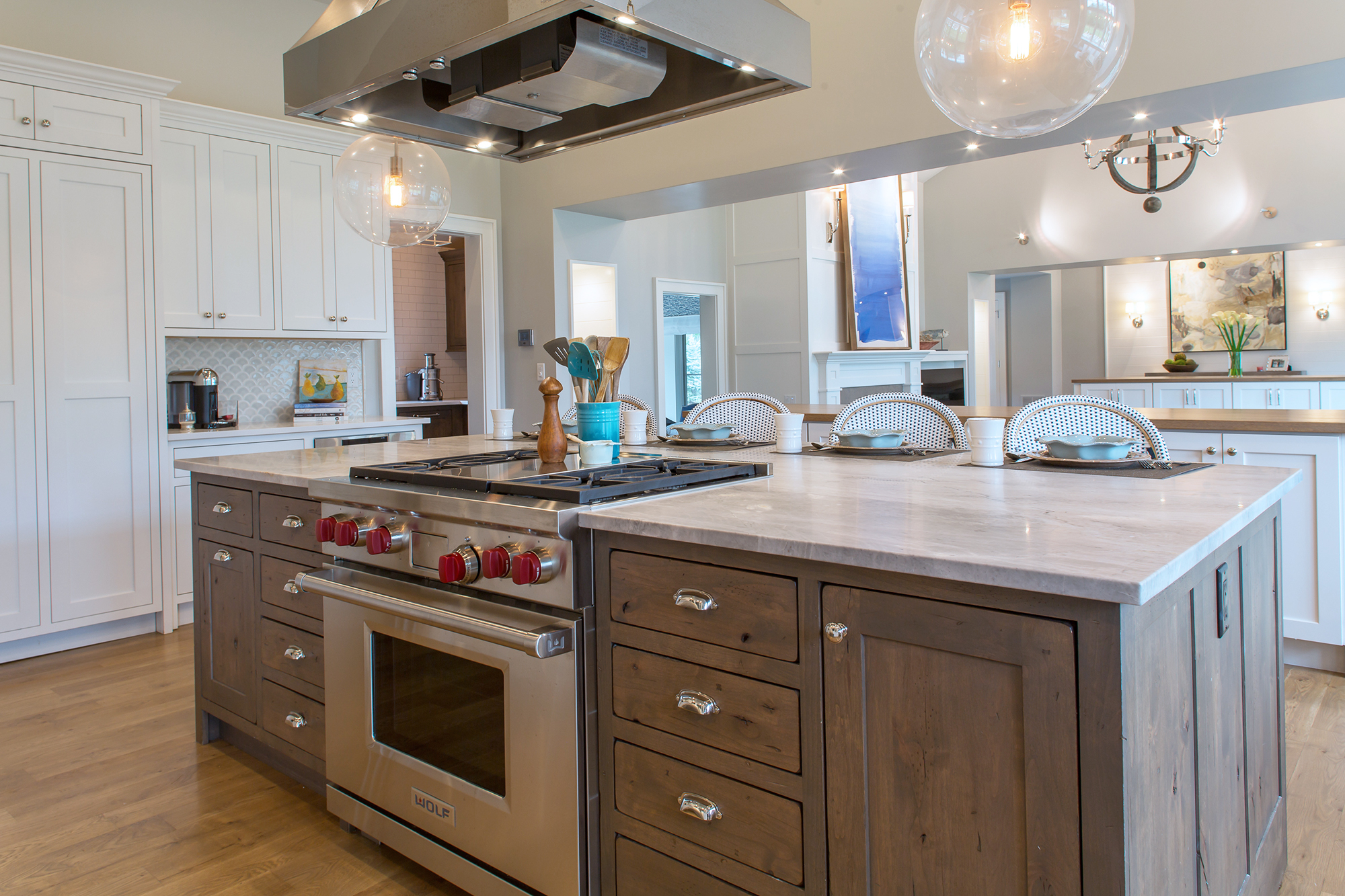 White Kitchen Cabinets with Gray Stained Island | Showplace ...