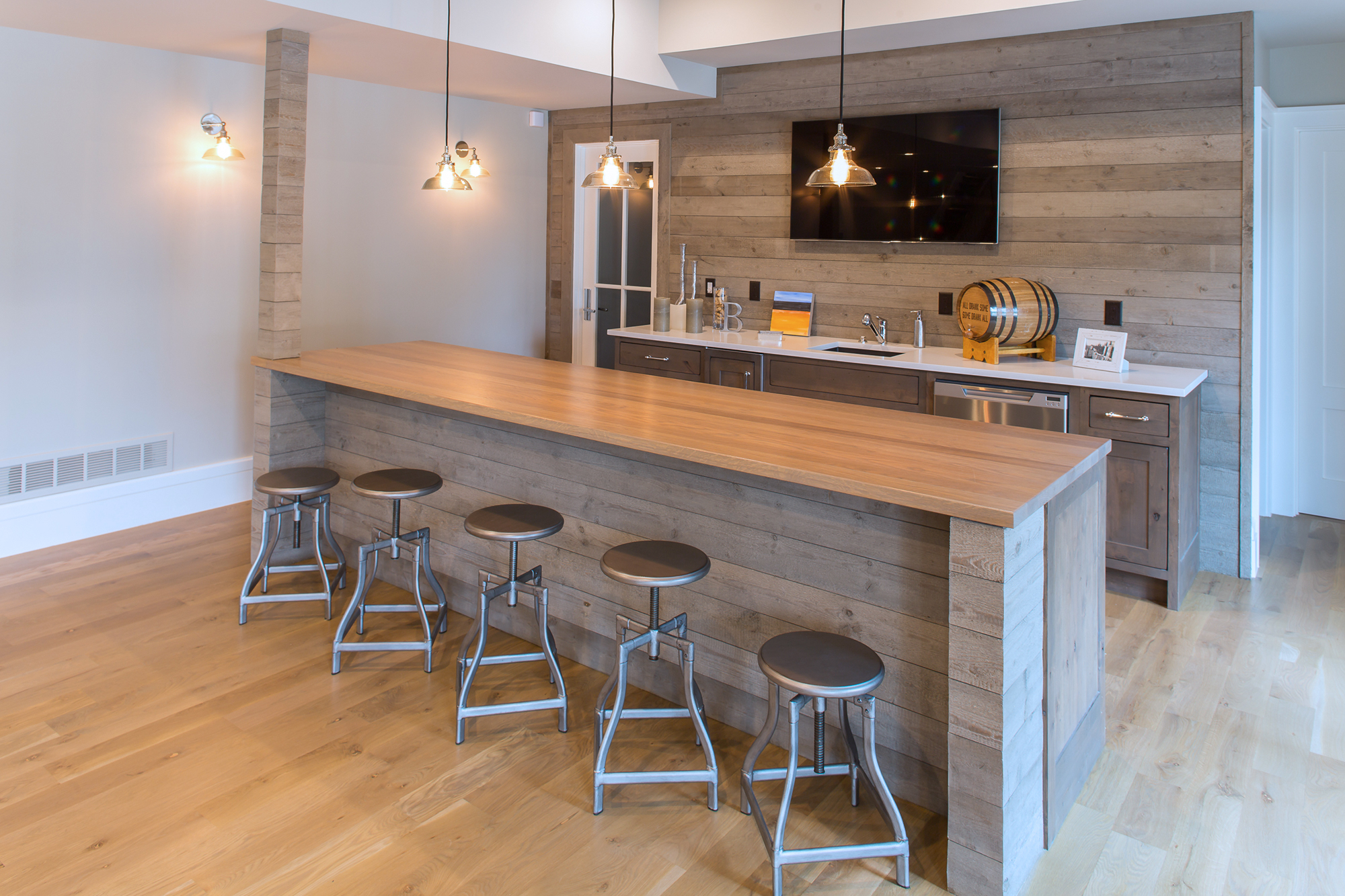 Stained Home Bar Cabinets in Driftwood by Showplace Cabinetry - view 2