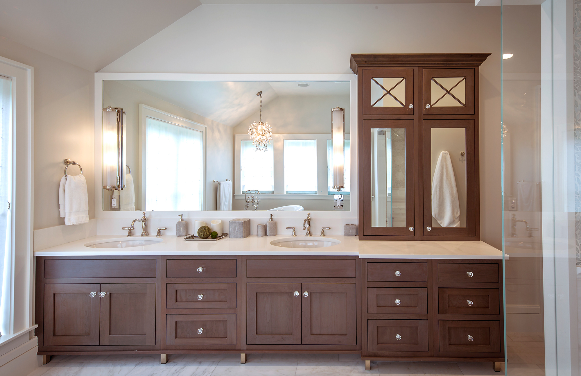 Stained Master Bathroom Cabinets in Rockport by Showplace Cabinetry - View 1