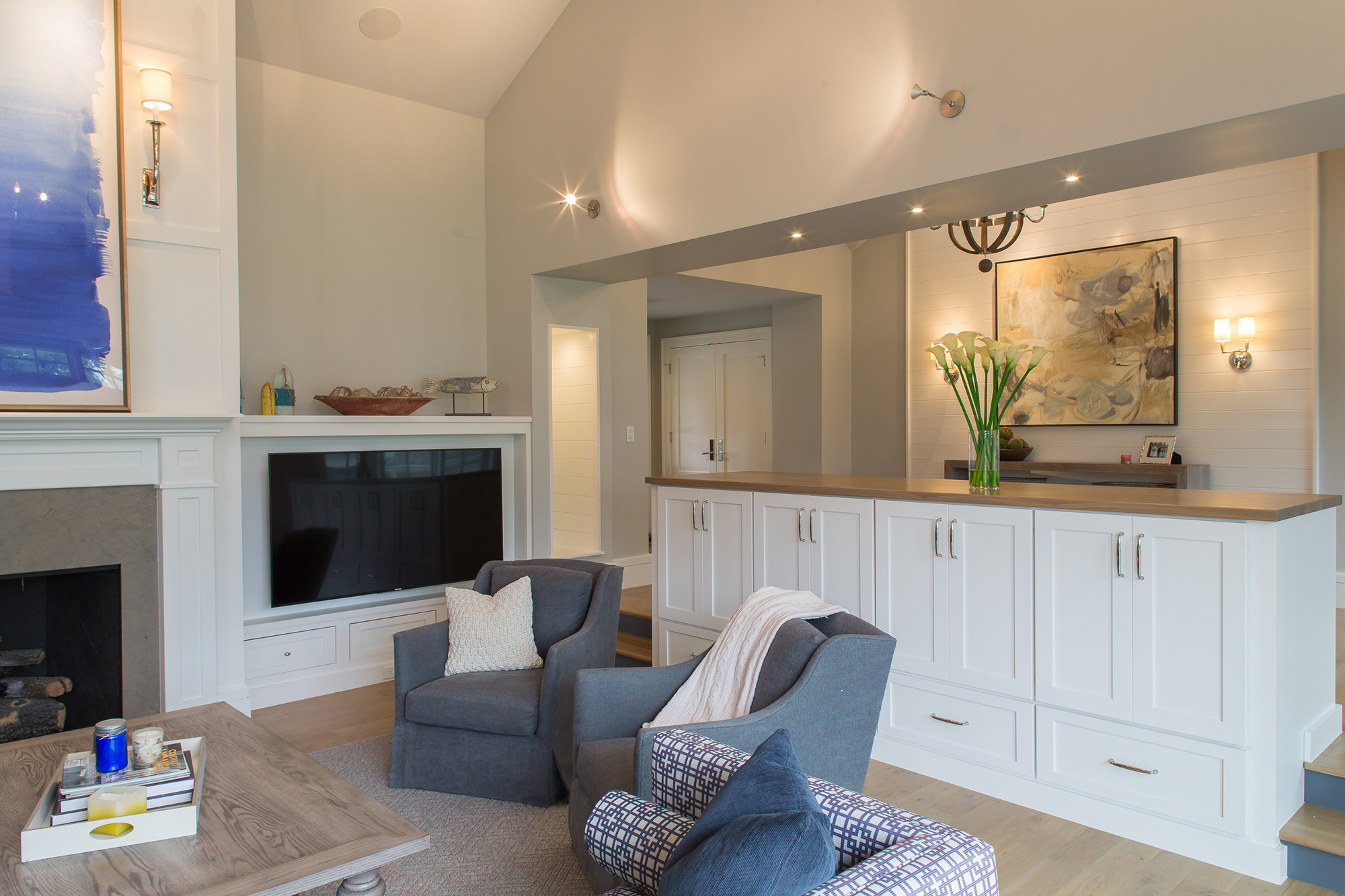 Painted Family Room Cabinets in White by Showplace Cabinetry - View 3