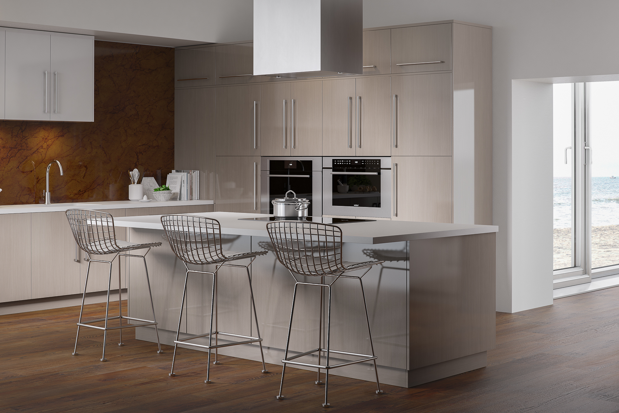 High-gloss acrylic kitchen cabinets with ocean view in wired mercury and white high gloss by Showplace EVO view 2