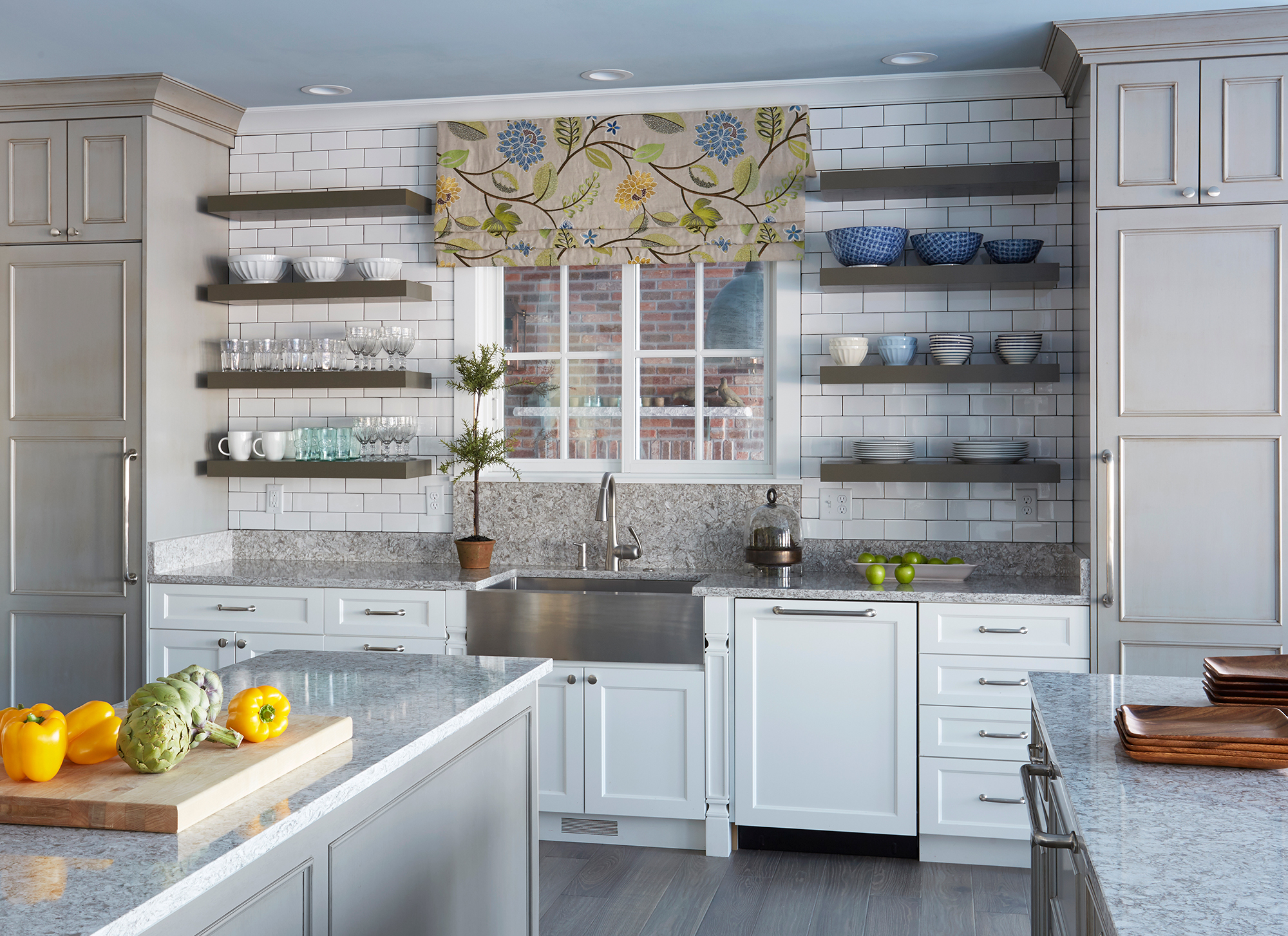 Painted Kitchen Cabinets In White And Island Cottage Gray With Walnut Glaze By Showplace Cabinetry