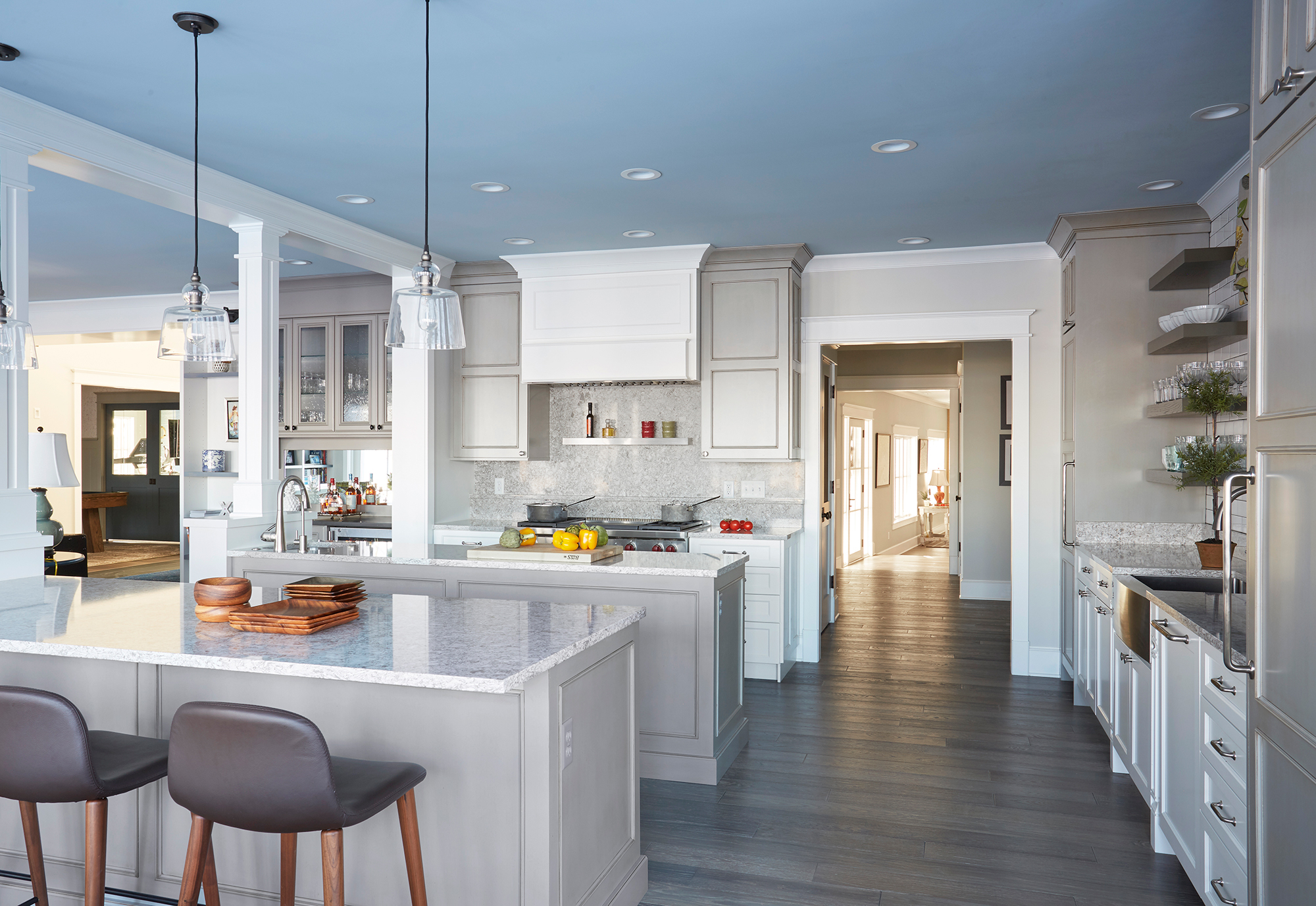 Painted Kitchen cabinets in White and island in Cottage Gray with Walnut glaze by Showplace Cabinetry - view 3