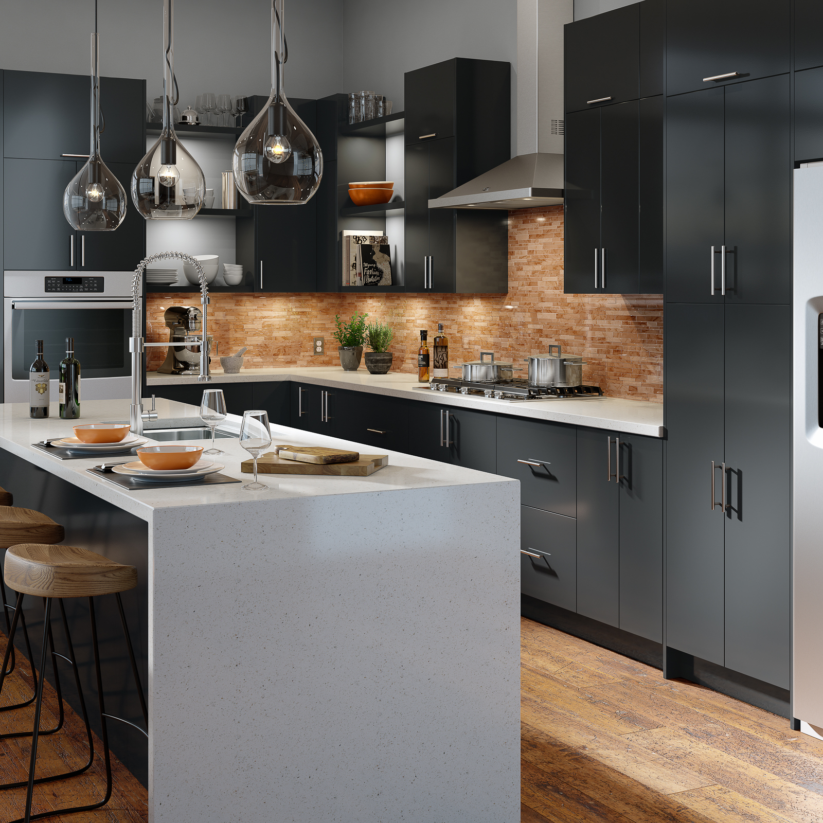 Slab style kitchen cabinets in Graphite high-gloss acrylic by Showplace EVO view 2