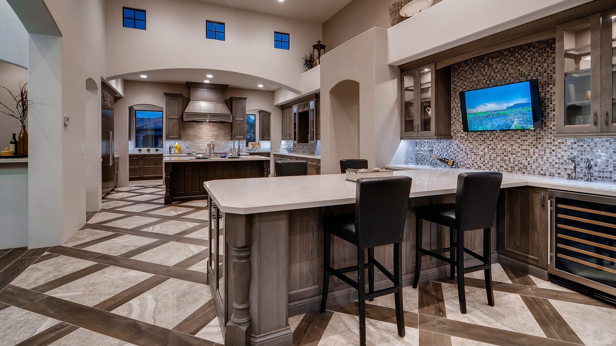Stained home bar cabinets in Flagstone by ShowplaceEVO - view 1