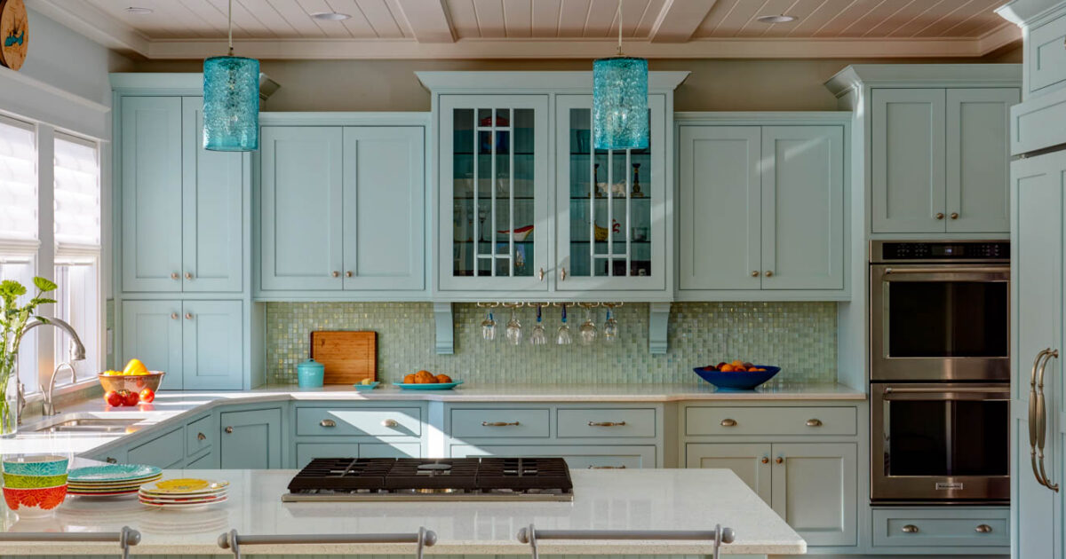 Painted Kitchen Cabinets In Sherwin Williams Tidewater By Showplace  Cabinetry   Feature