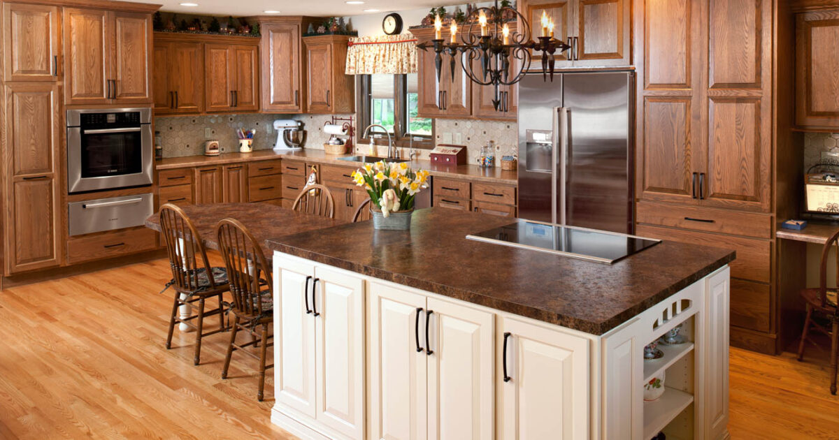 Stained Kitchen Cabinets In Cognac By Showplace Cabinetry   Feature