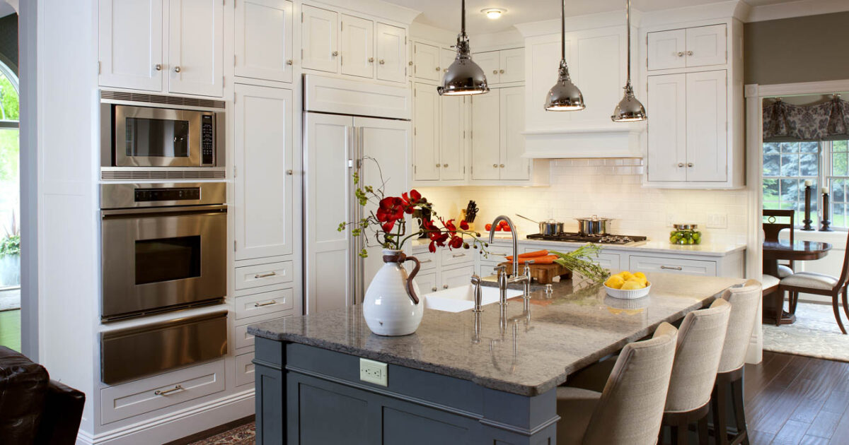 White Kitchen Cabinets With Blue Island Showplace Cabinetry