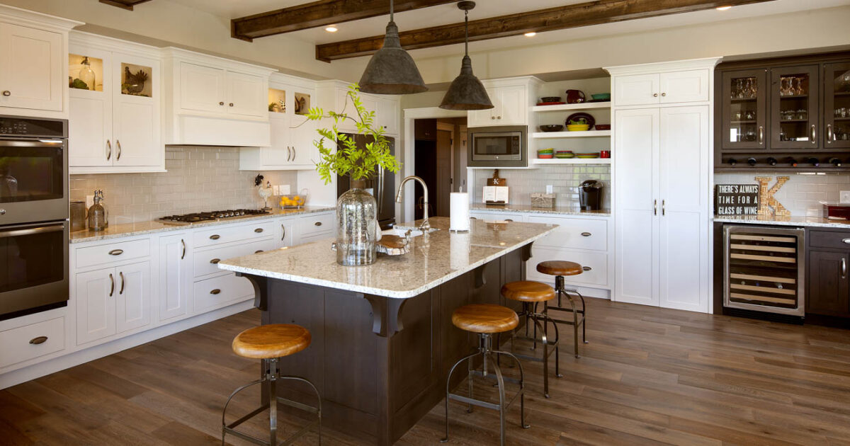 White Kitchen Cabinets with Brown