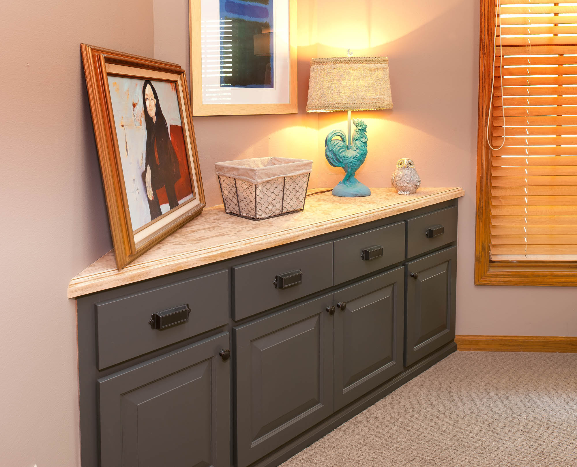 Renew | Painted master bedroom bench in Graphite by Showplace Cabinetry