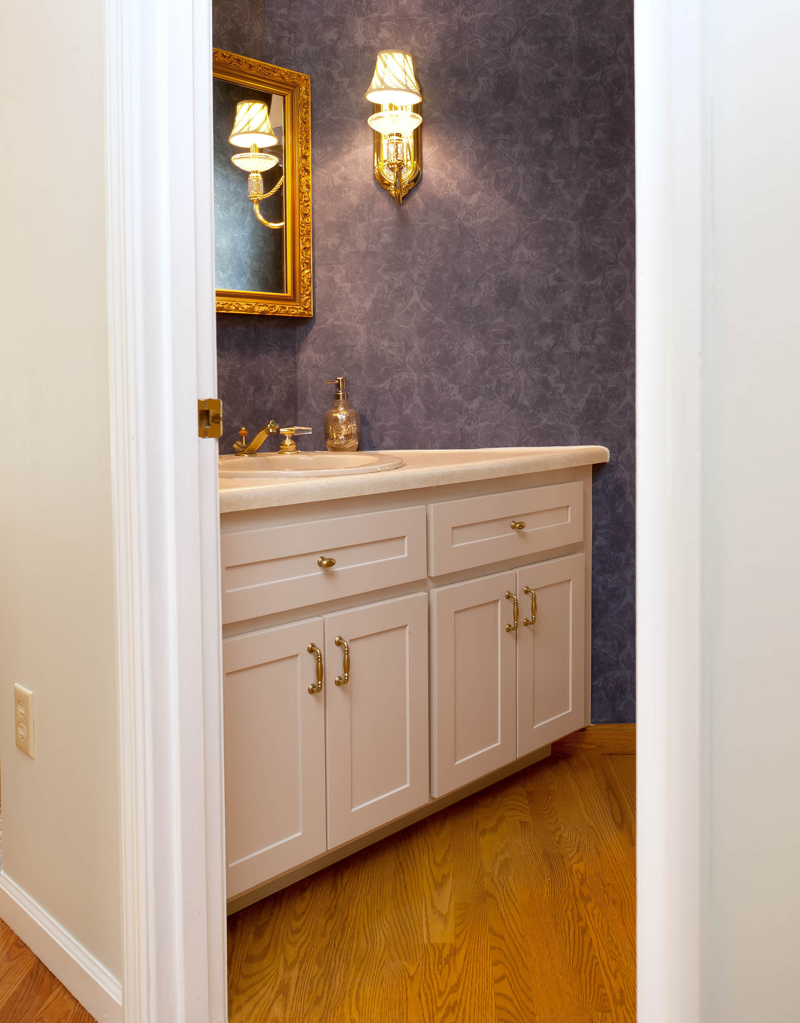 Renew | Painted bathroom vanity in Light Mocha by Showplace Cabinetry