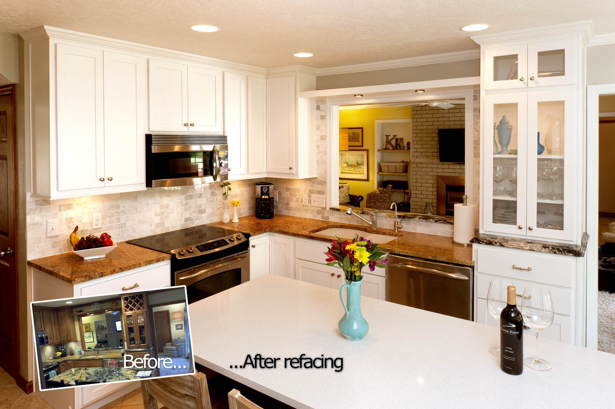 Renew Refacing | Painted kitchen cabinets in White by Showplace Cabinetry - view 2