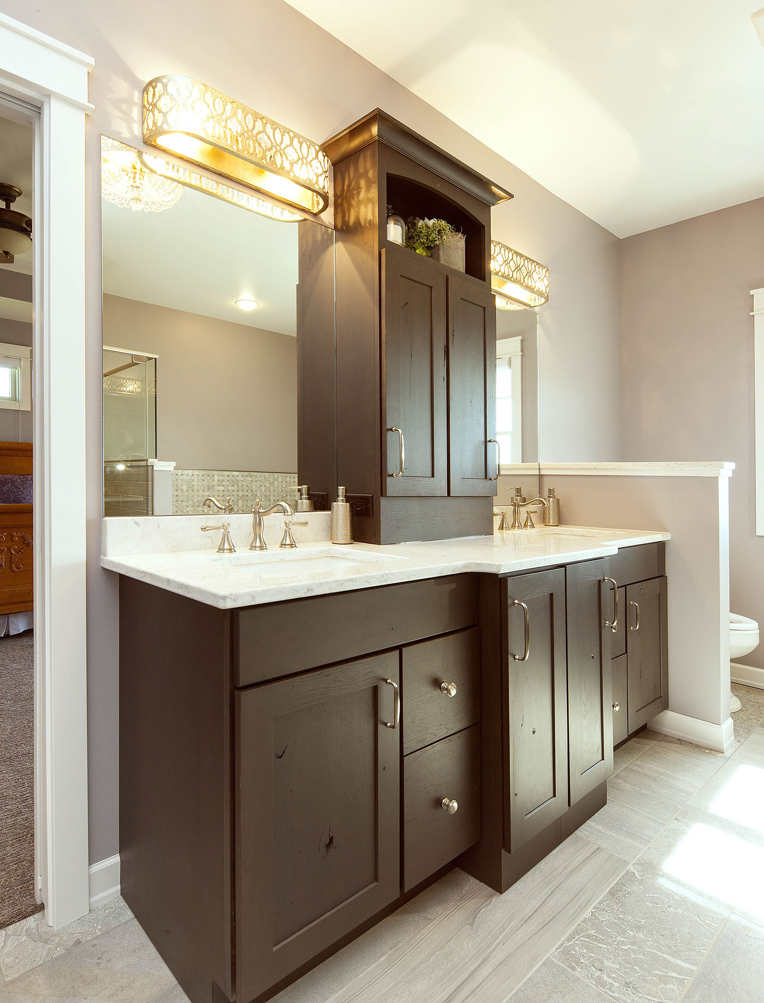 Stained master bathroom vanity in Peppercorn by Showplace Cabinetry - view 1