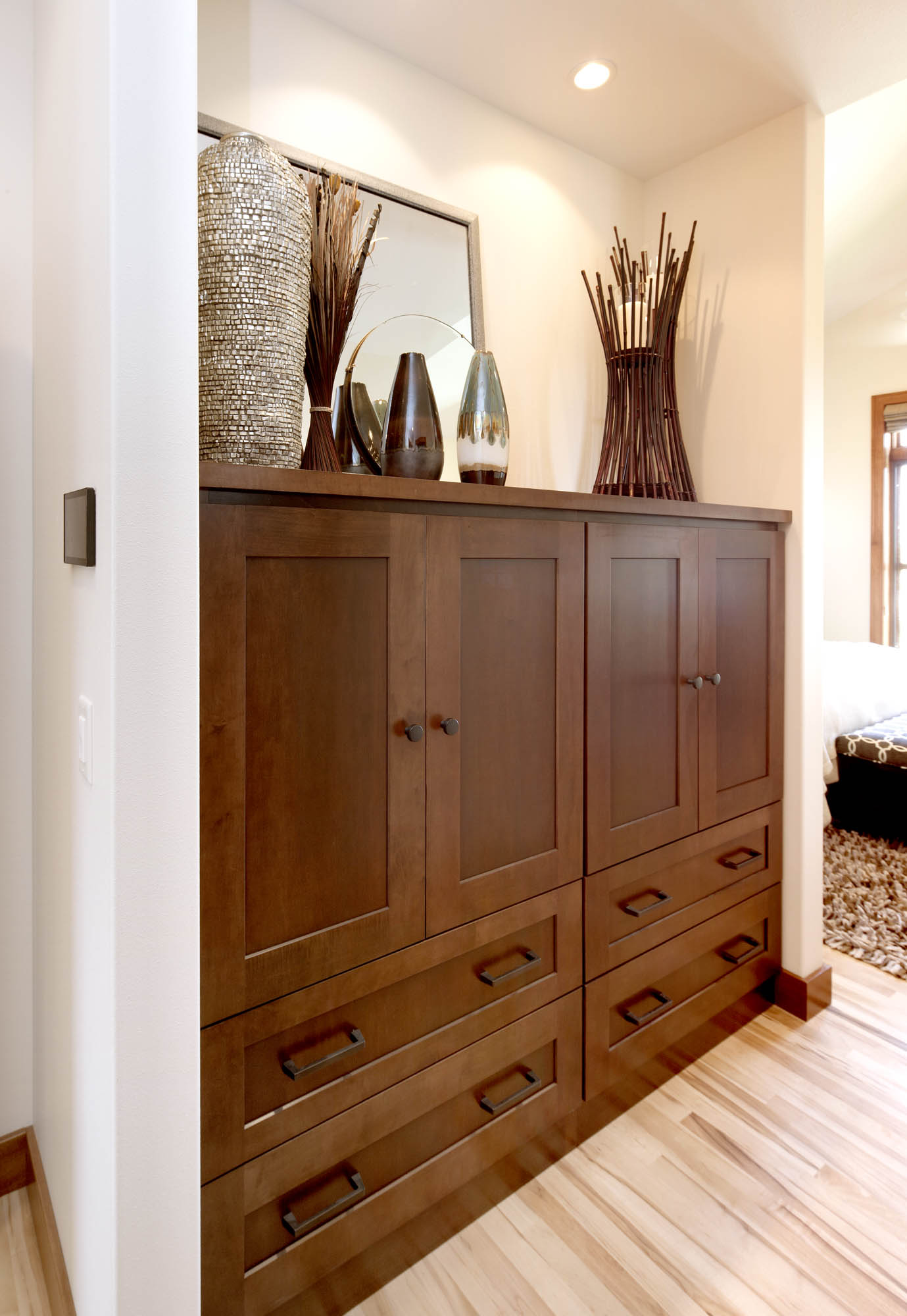 Stained master bedroom cabinets in Harvest and Autumn by Showplace Cabinetry - view 1