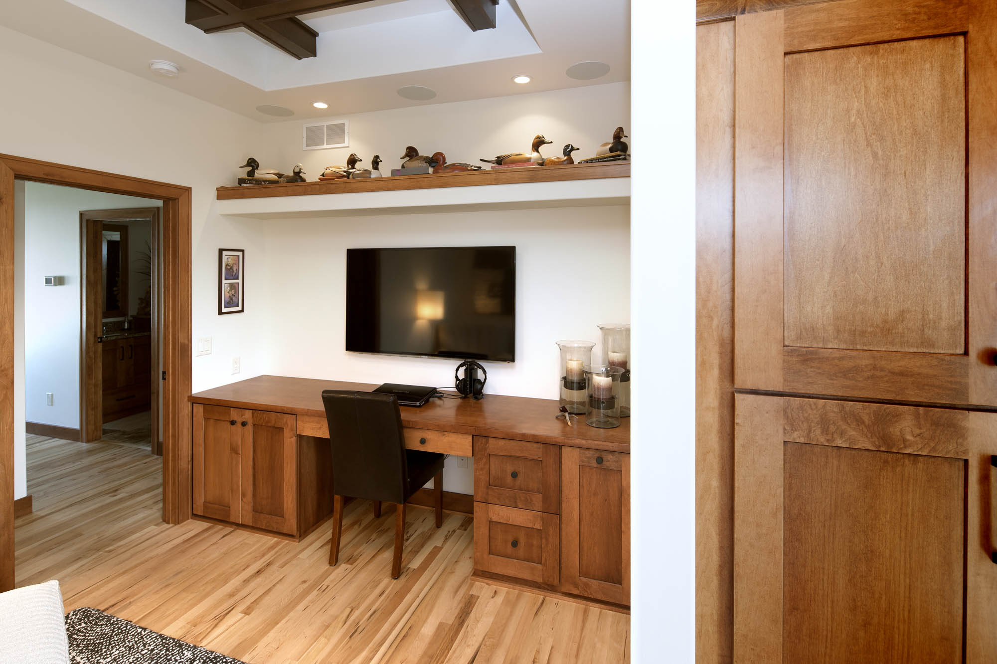 Stained home office cabinets in Autumn by Showplace Cabinetry