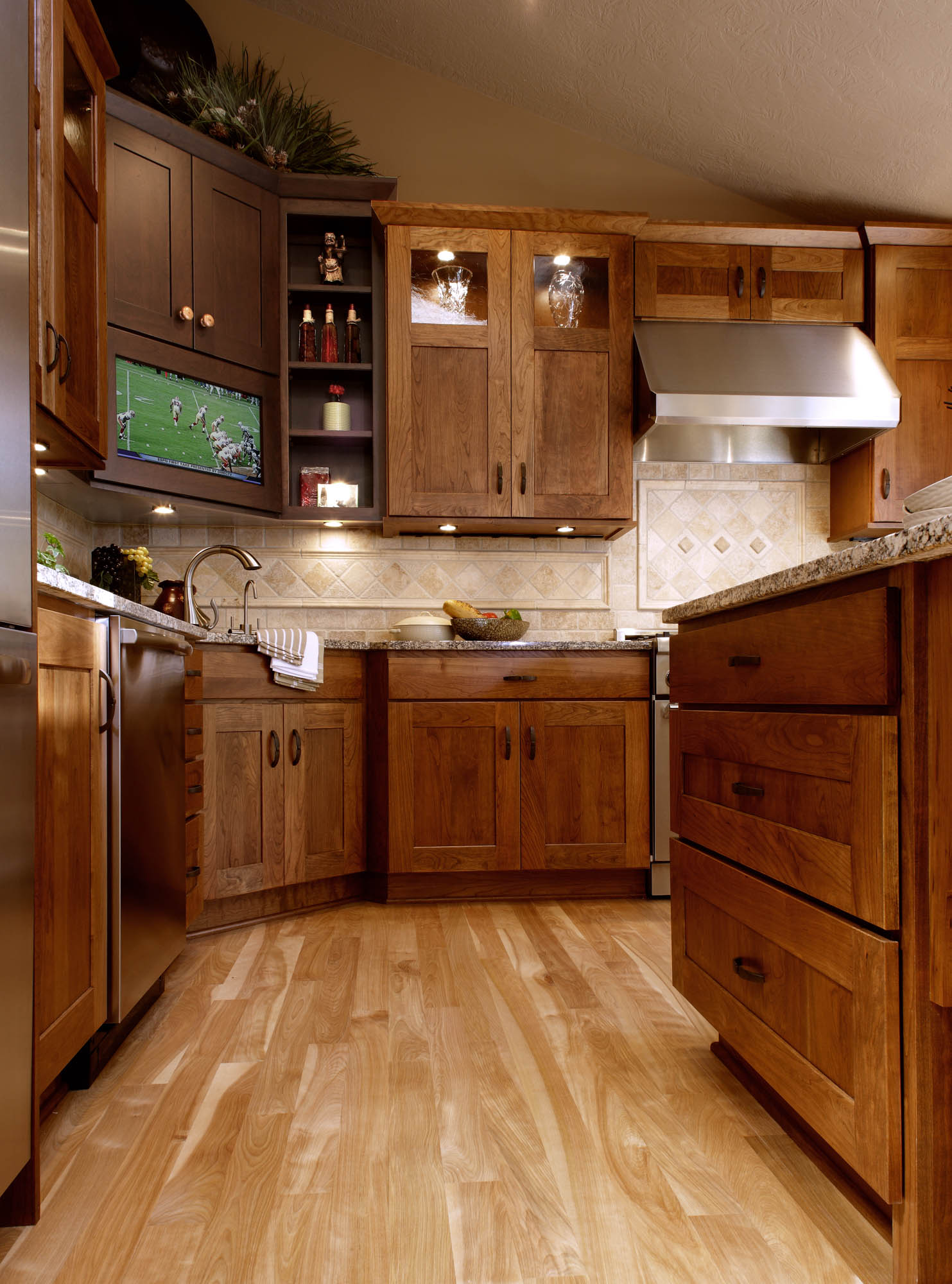 Stained Kitchen Cabinets In Truffle And Coffee By Showplace Cabinetry    View 3
