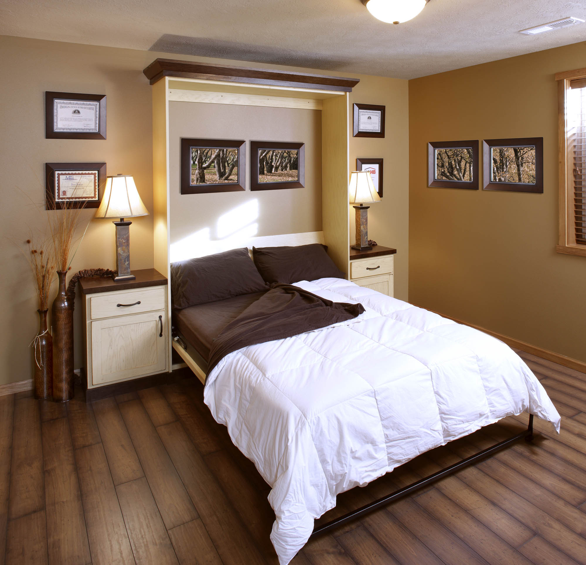 Stained home office murphy wall bed in Vintage Soft Yellow by Showplace Cabinetry - view 1