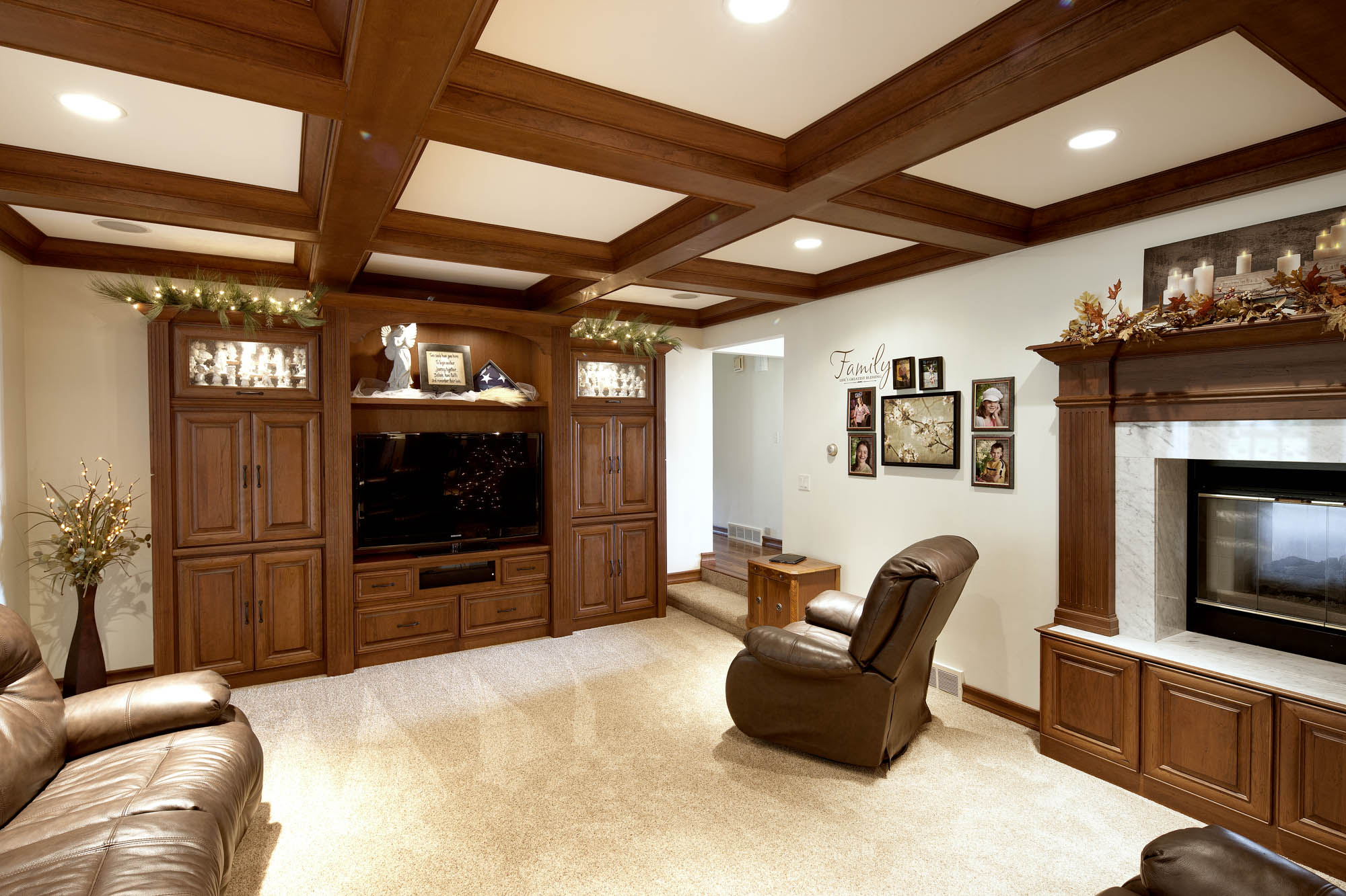 Stained family room entertainment center in Vintage Autumn by Showplace Cabinetry - view 1