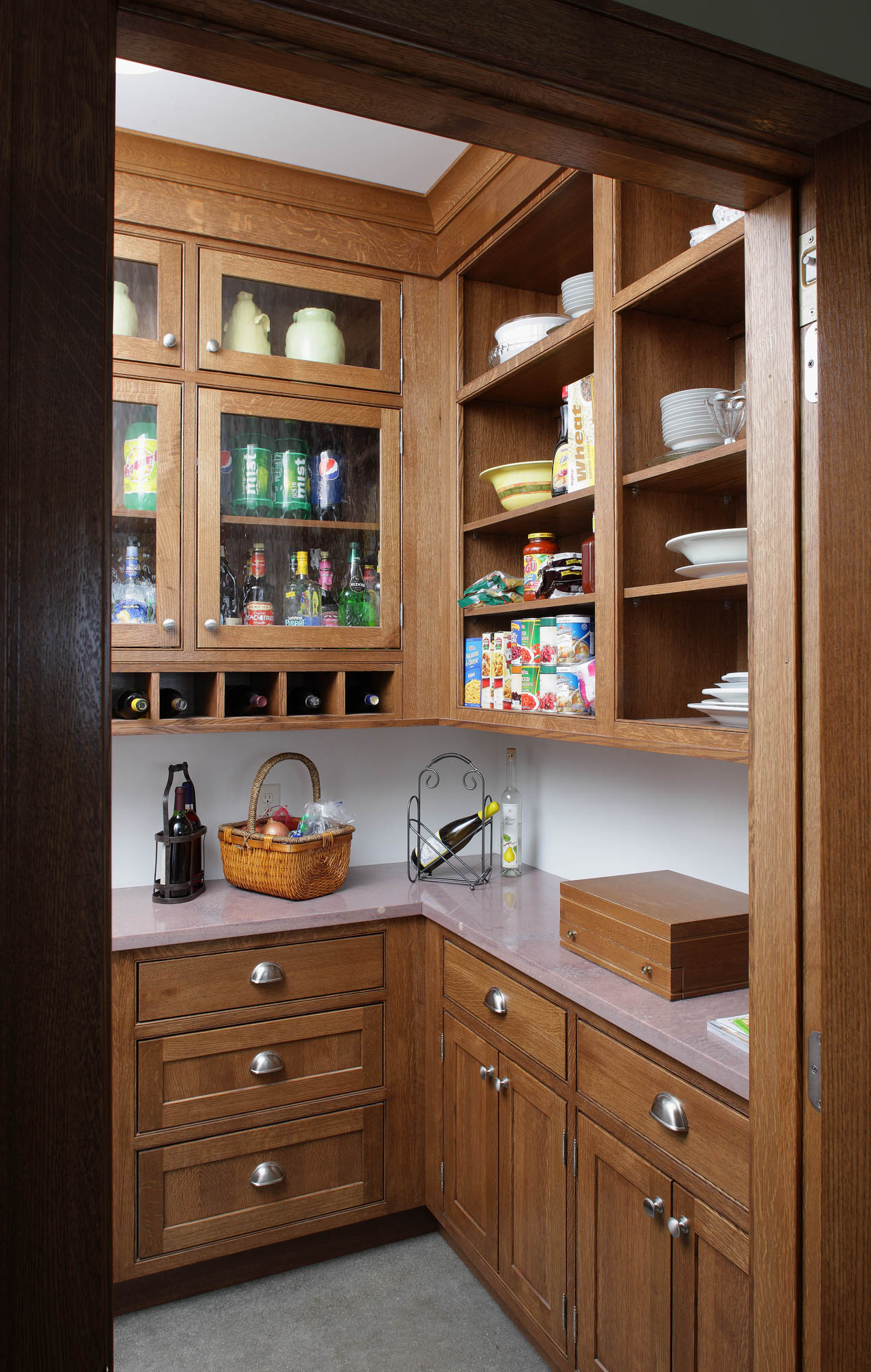Stained kitchen pantry in Truffle by Showplace Kitchens