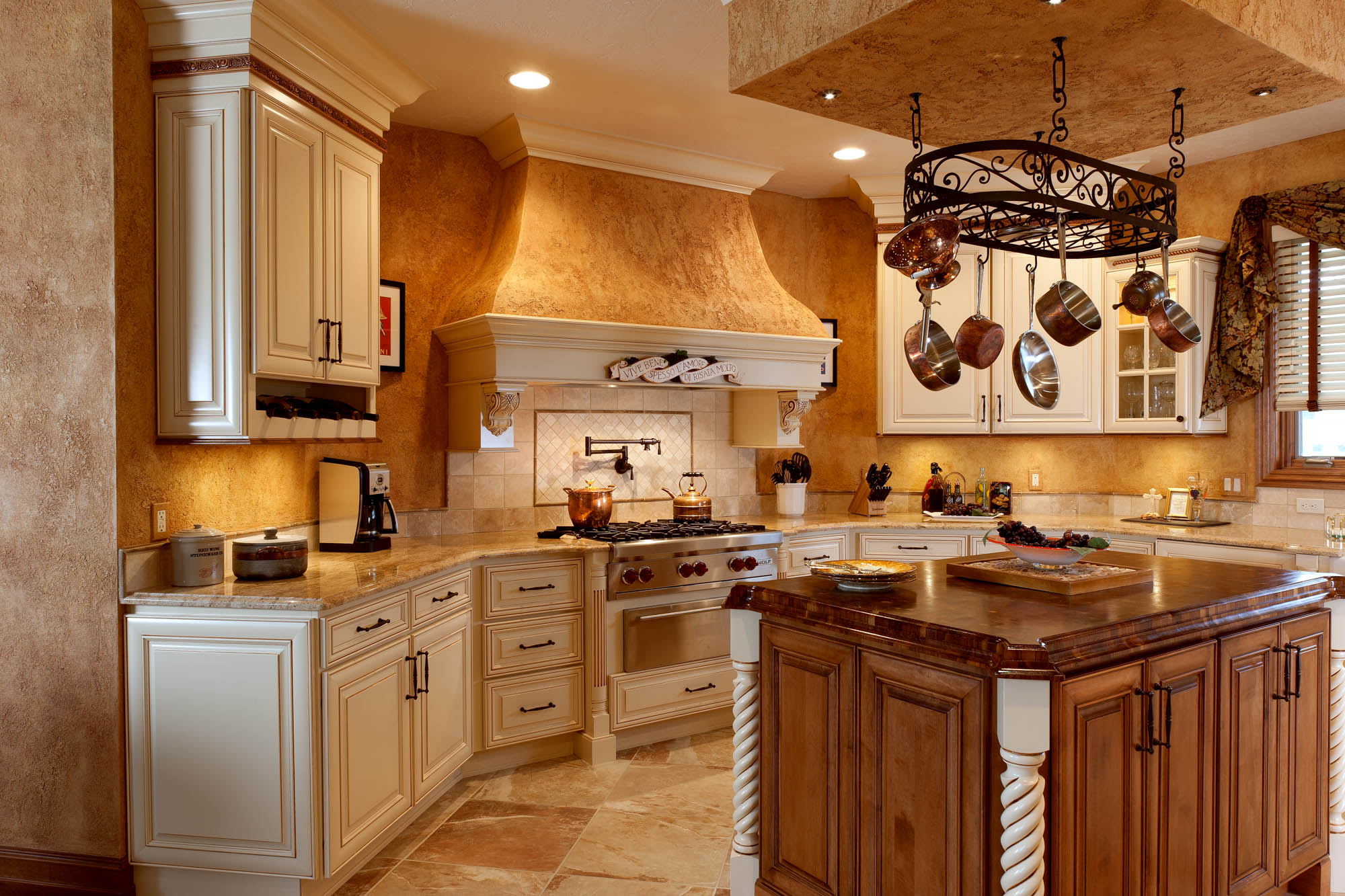 Painted kitchen cabinets in Linen with Carmel Glaze by Showplace Cabinetry - view 2