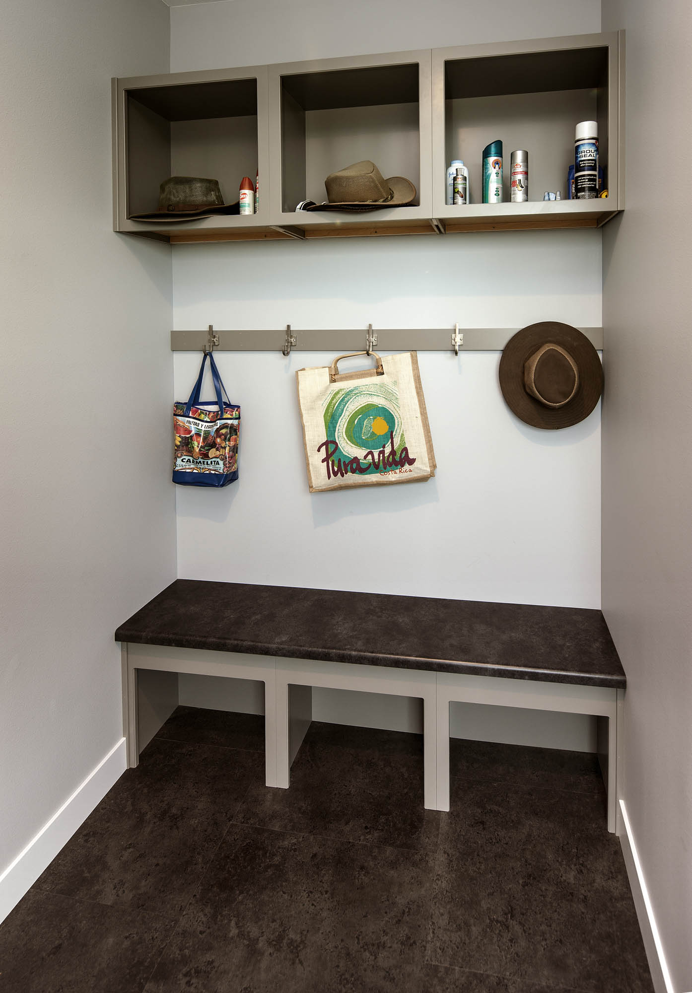 Painted mudroom cabinetry in Dovetail by Showplace Cabinetry
