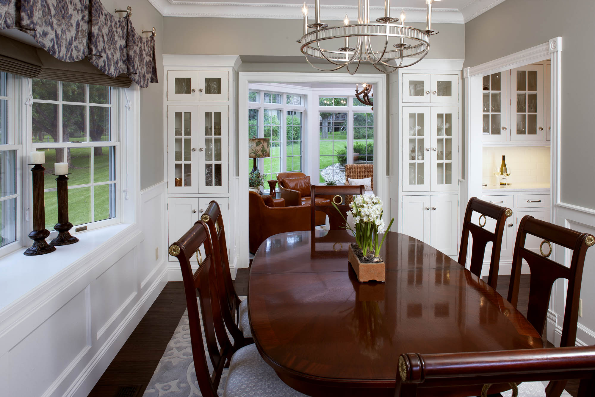 Painted dining room cabinets in White by Showplace Cabinetry