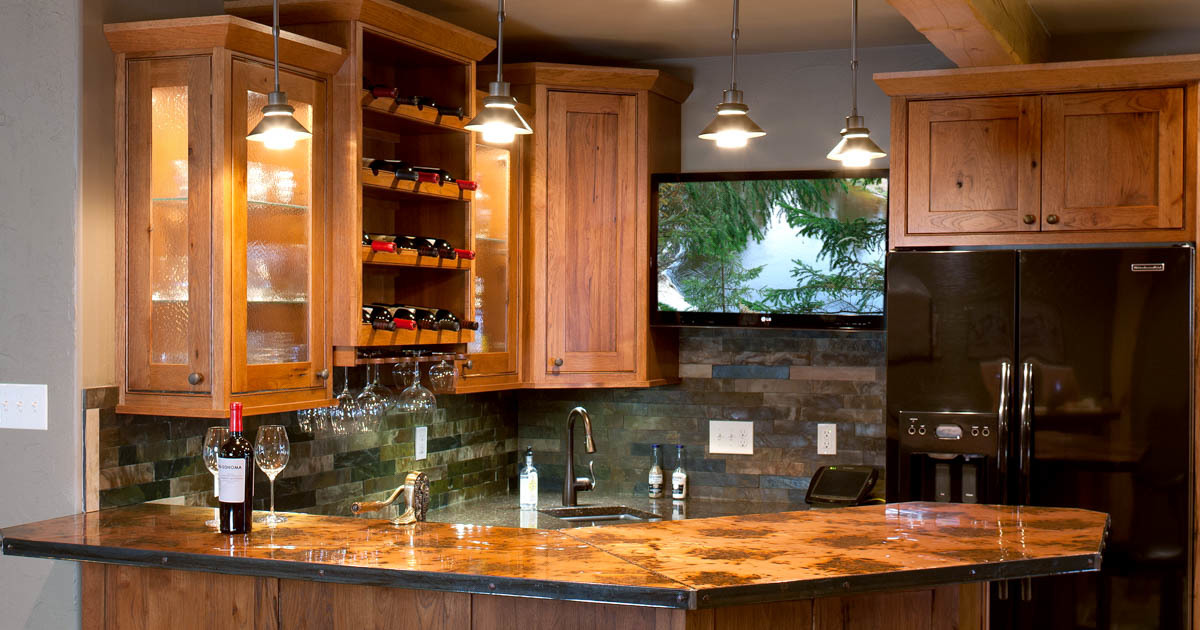 Genial Stained Home Theatre Wet Bar In Autumn With Ebony Glaze By Showplace  Cabinetry   View 1